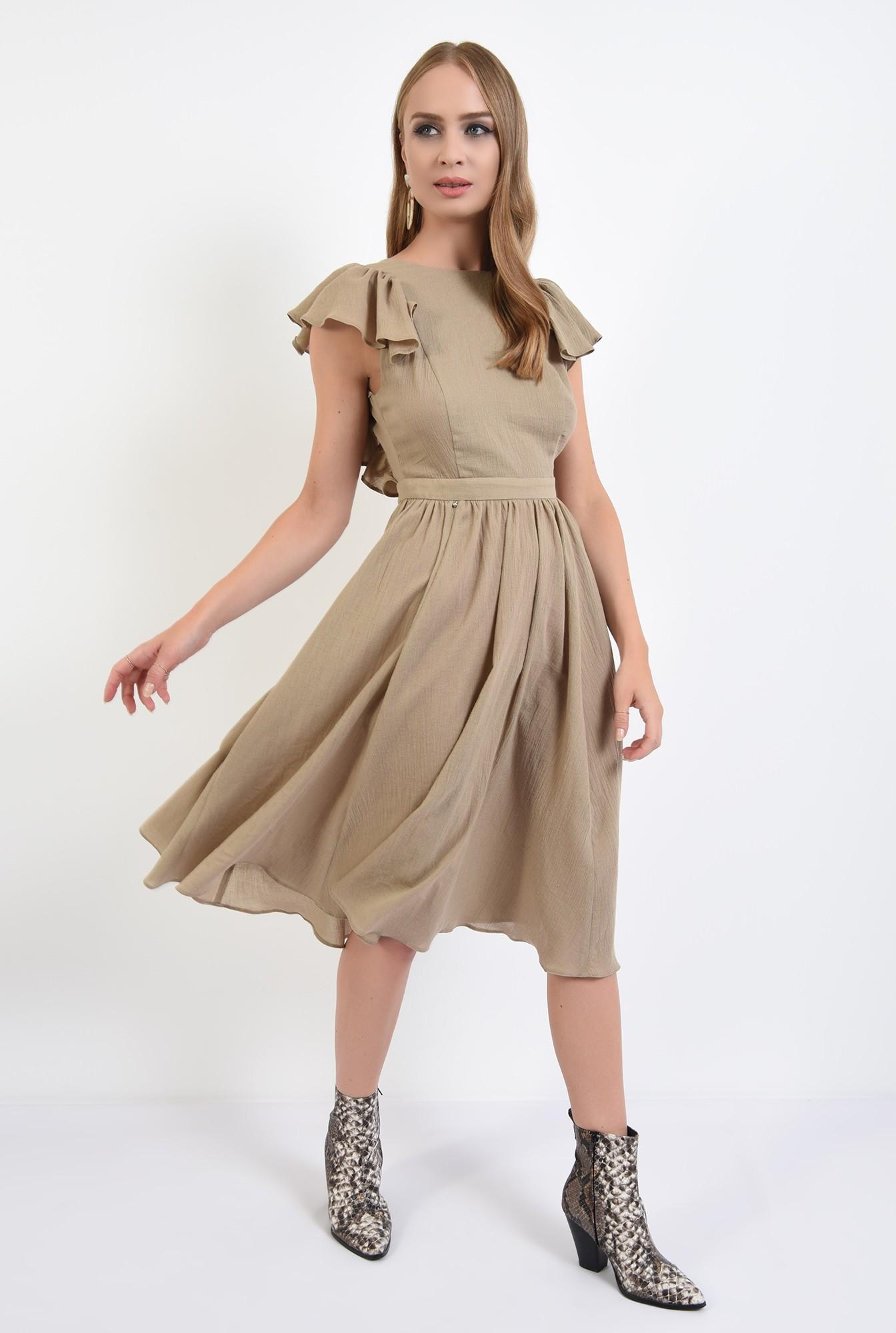 3 -  rochie olive, midi, clos, spate gol, nasturi, Poema