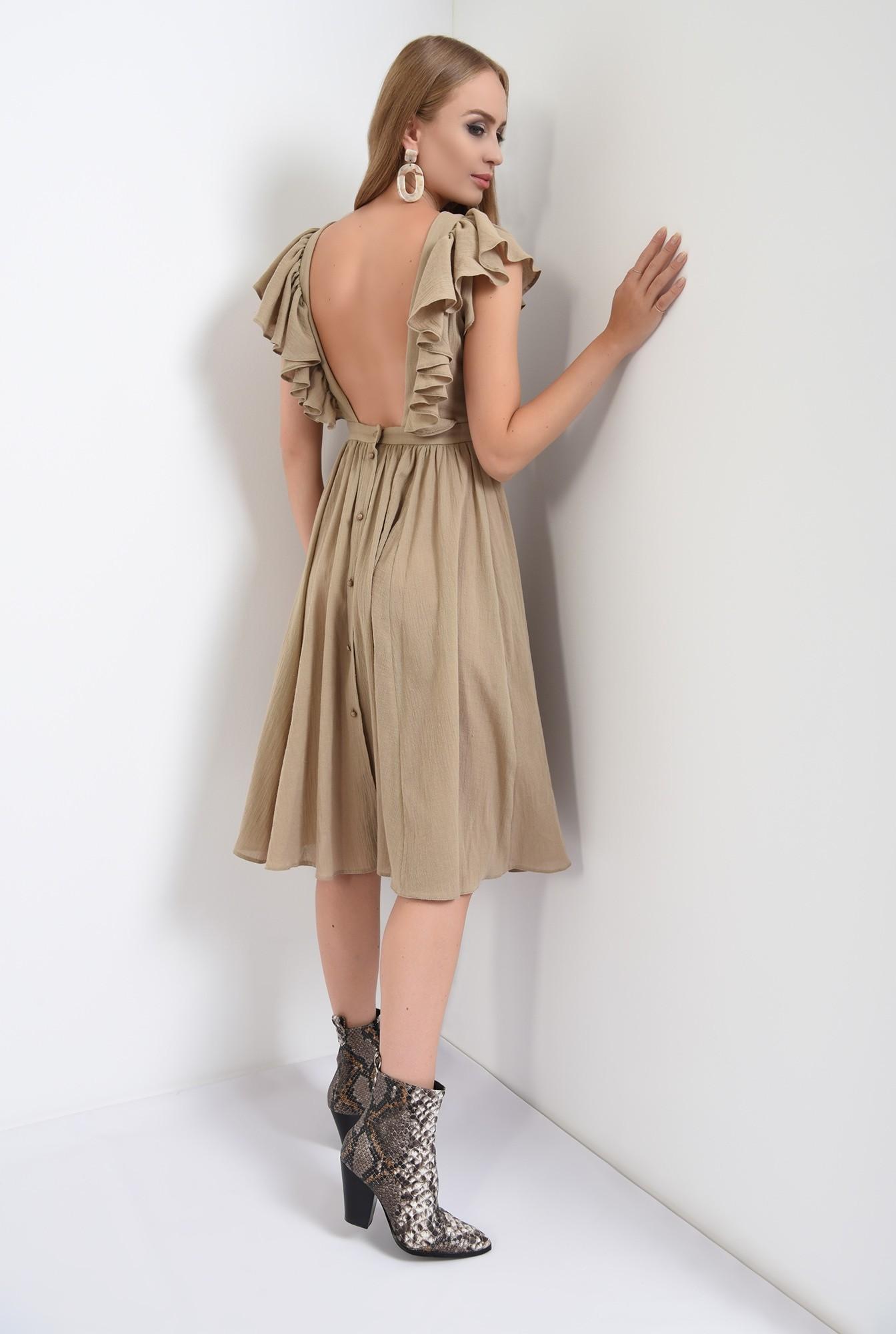 1 -  rochie olive, midi, clos, spate gol, nasturi, Poema
