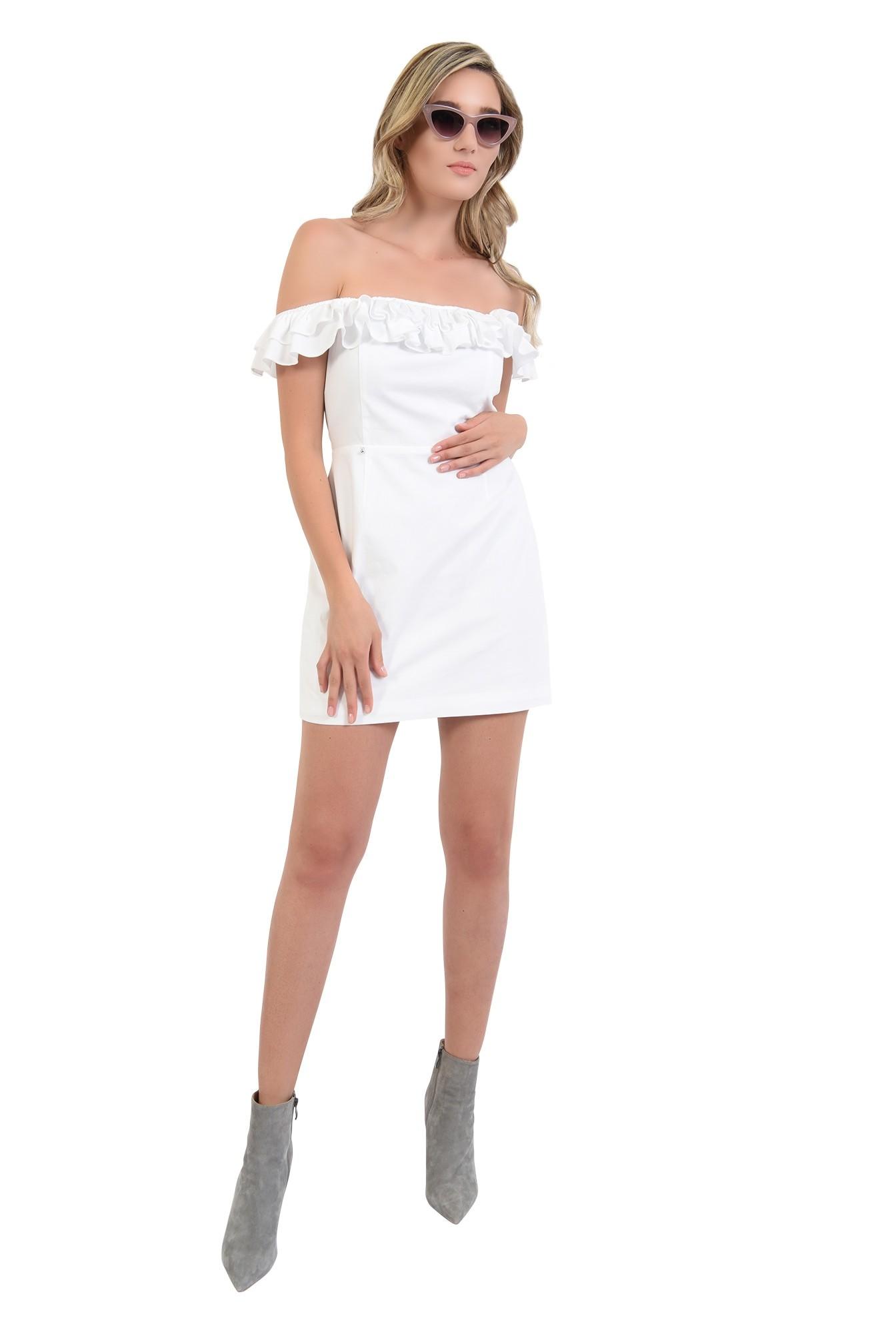 2 - 360 - rochie mini, alba, cu umeri goi si volane, Poema