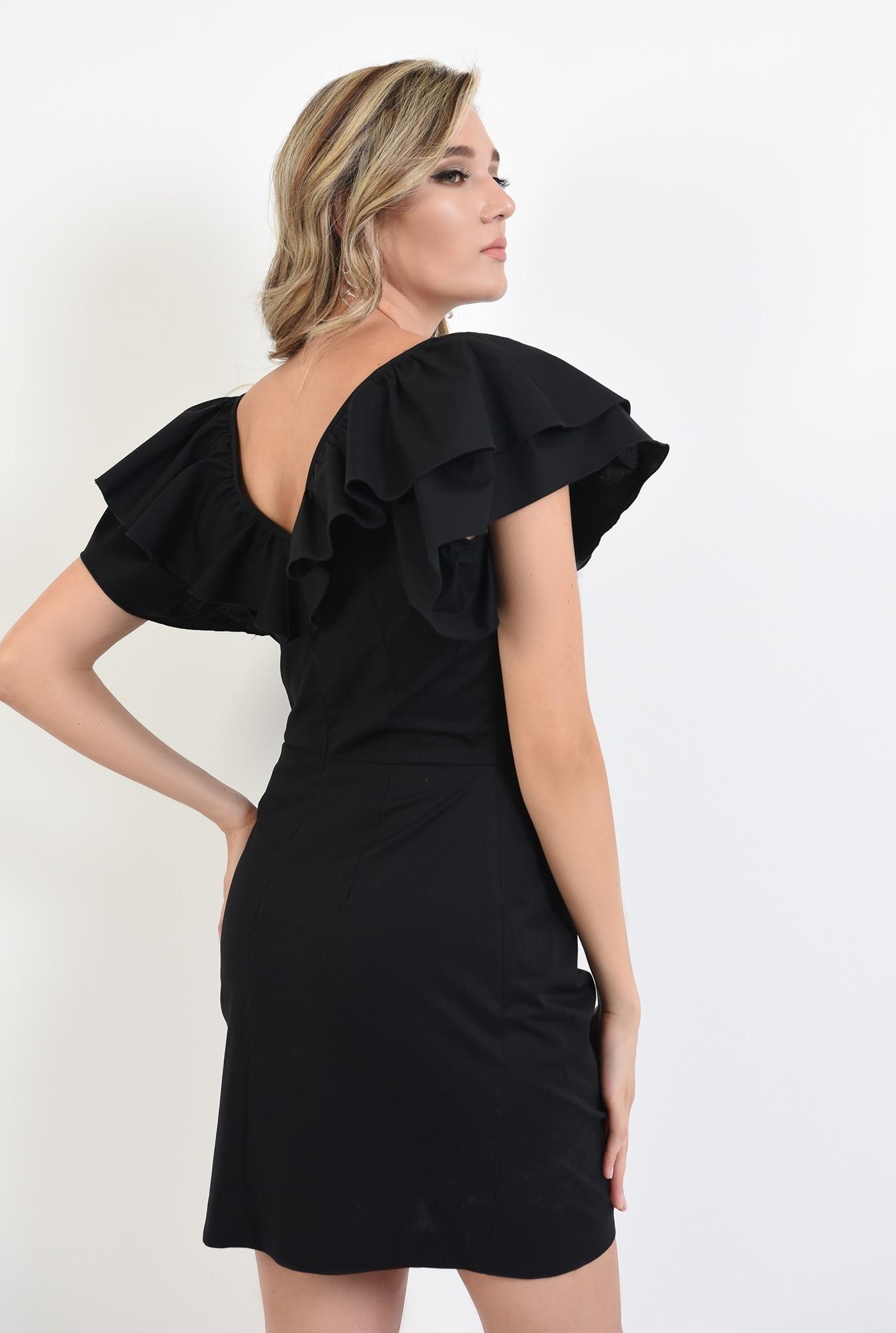 1 - 360 - rochie scurta, neagra, cu volane, Poema