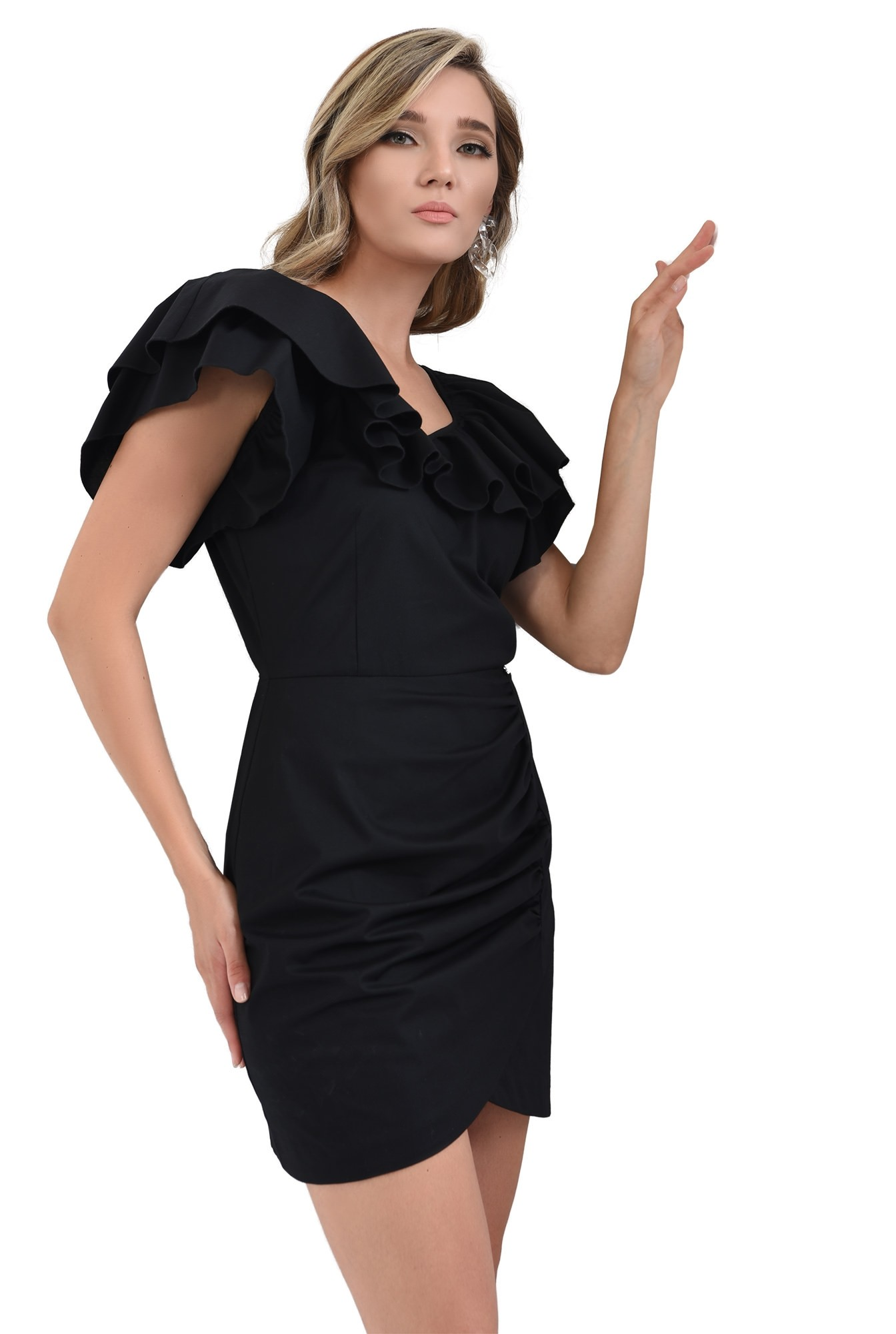 3 - 360 - rochie scurta, neagra, cu volane, Poema