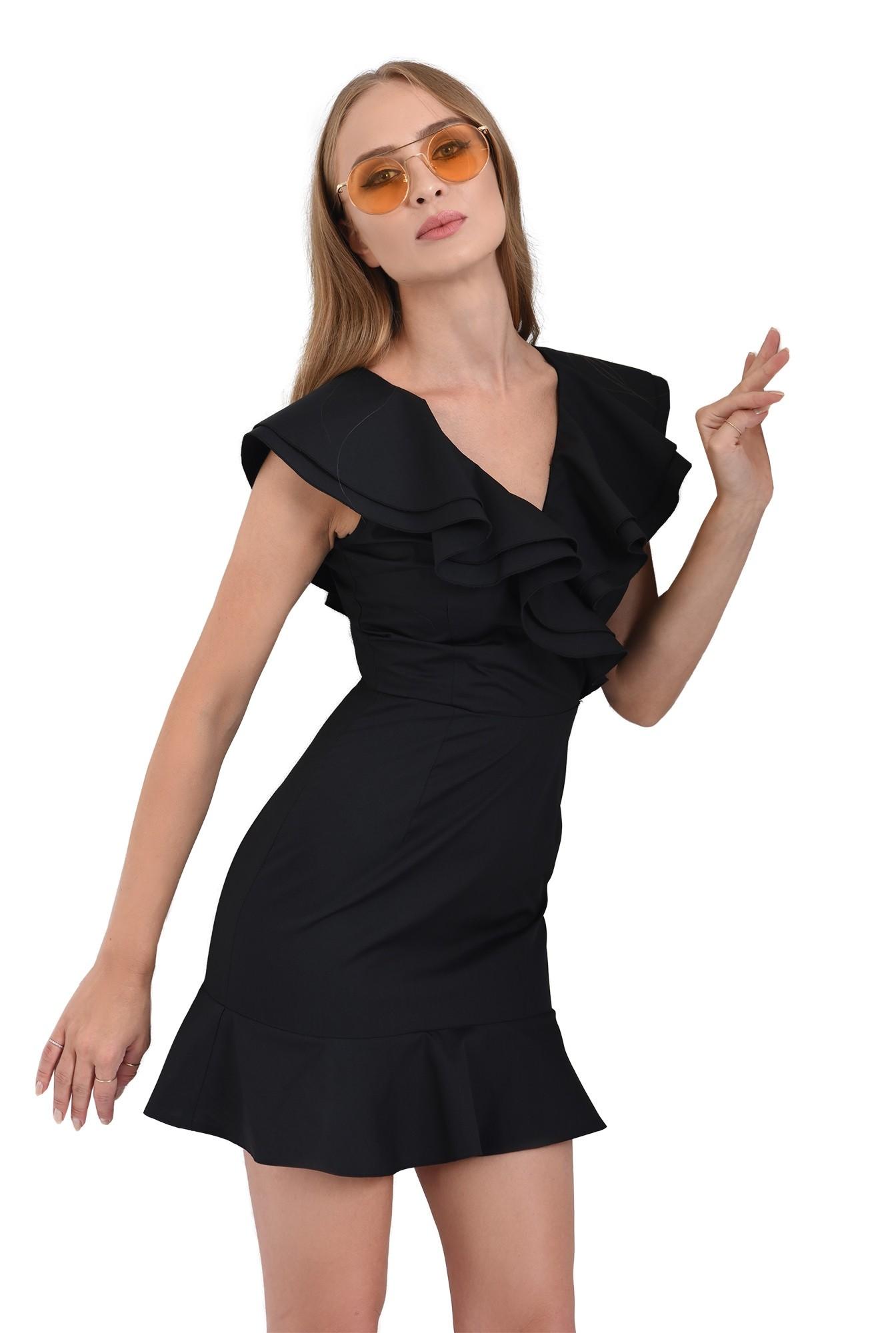 0 -  rochie mini, clos, cu volane, neagra, Poema