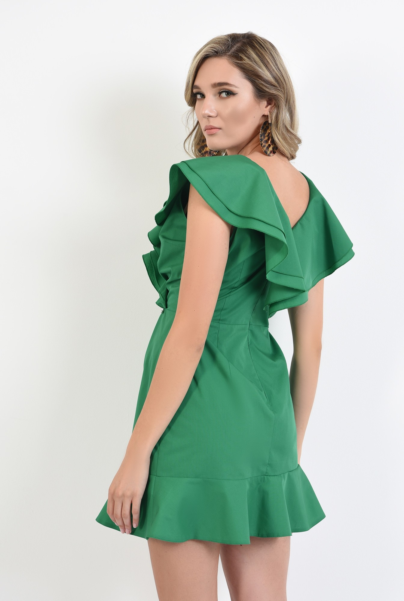 1 - 360 - rochie verde, din bumbac, cu volane, Poema