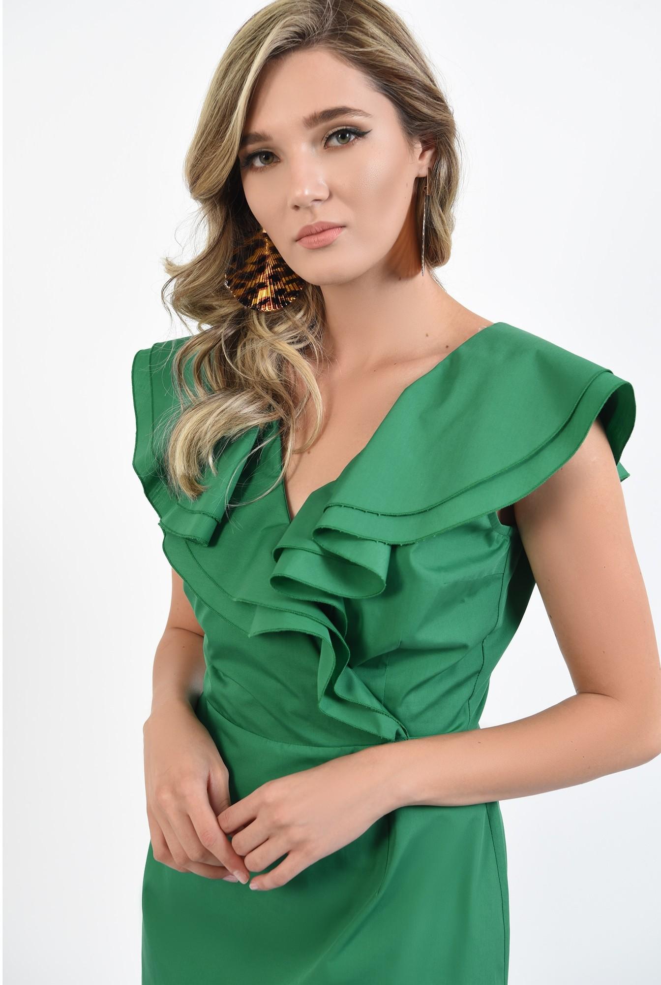 2 - 360 - rochie verde, din bumbac, cu volane, Poema