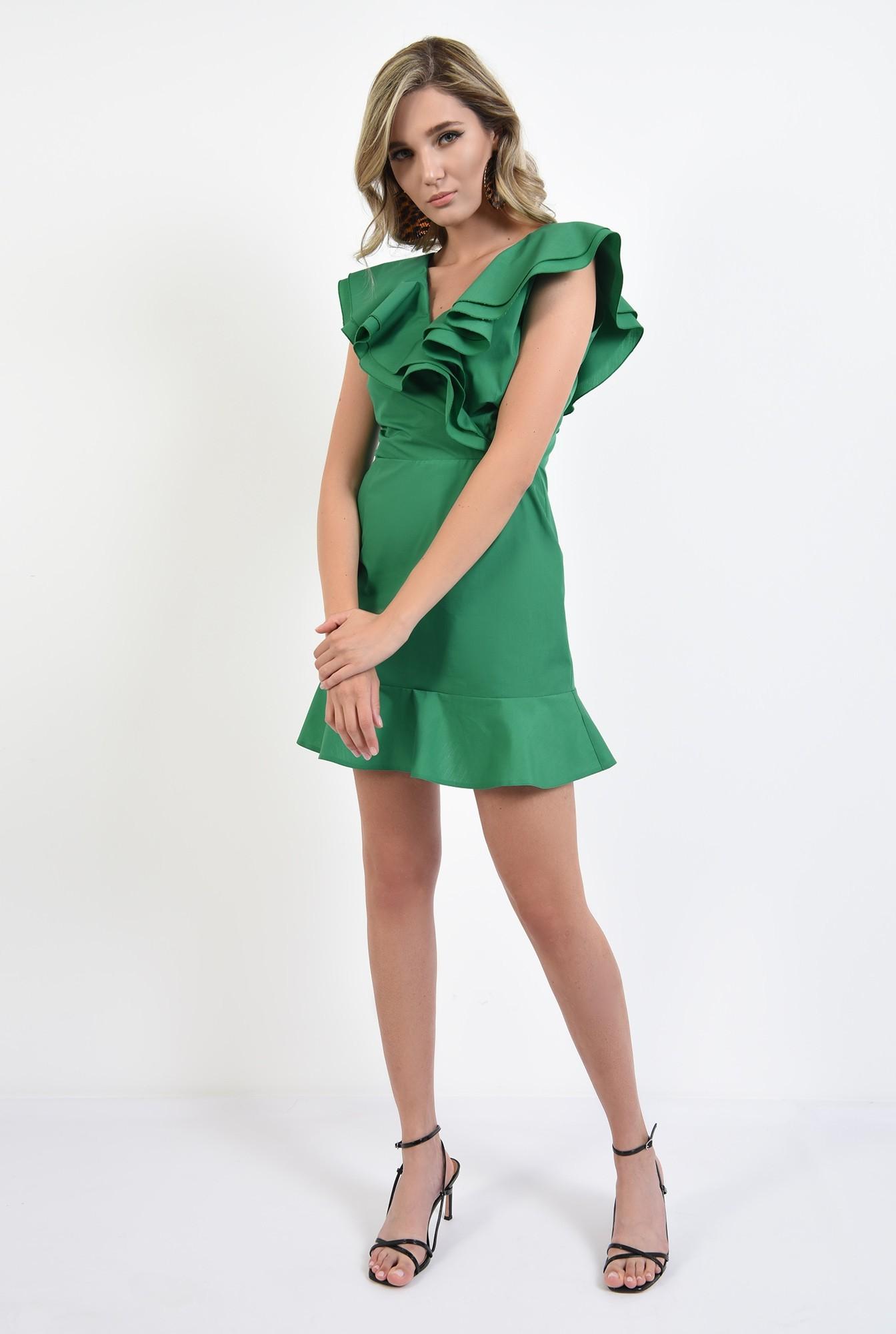 0 - 360 - rochie verde, din bumbac, cu volane, Poema