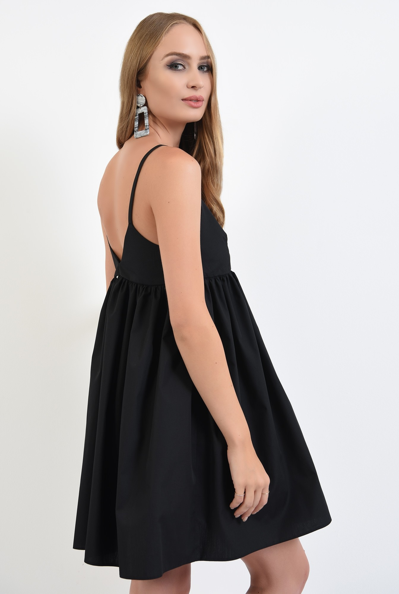 1 - 360 - rochie neagra, mini, evazata, cu bretele, anchior