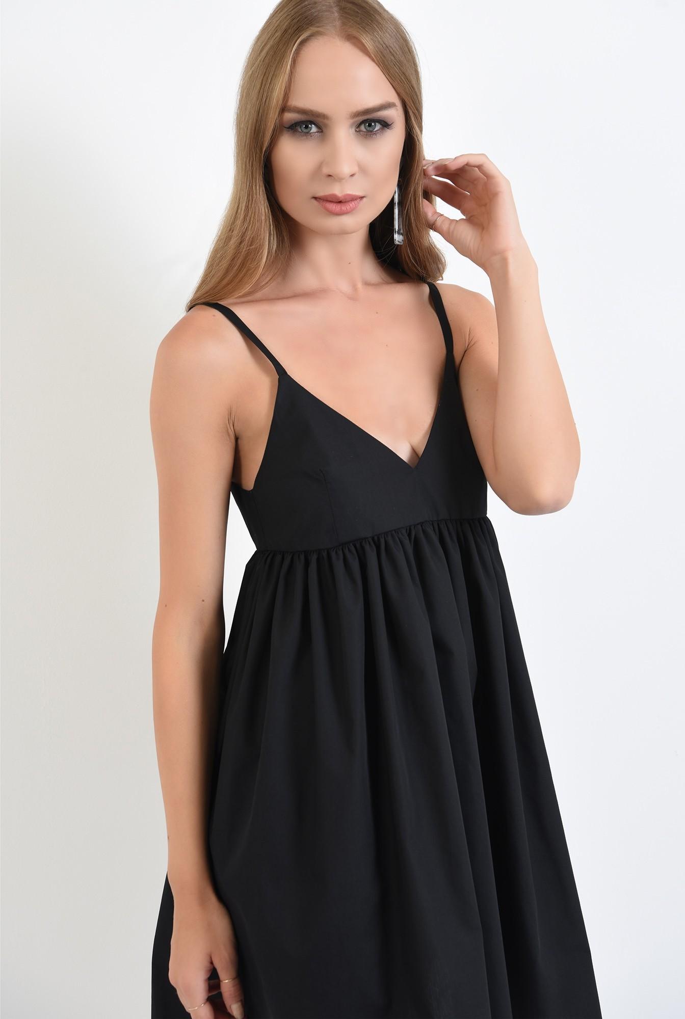 2 - 360 - rochie neagra, mini, evazata, cu bretele, anchior