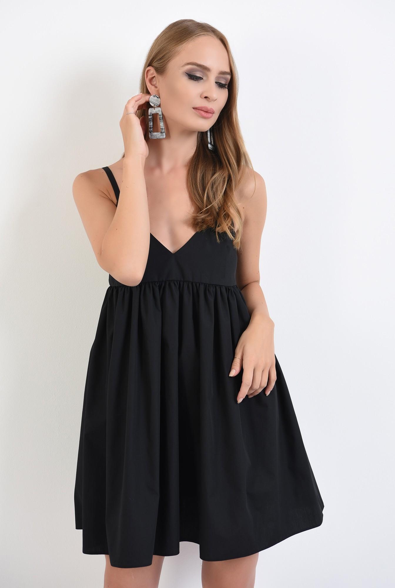 0 - 360 - rochie neagra, mini, evazata, cu bretele, anchior