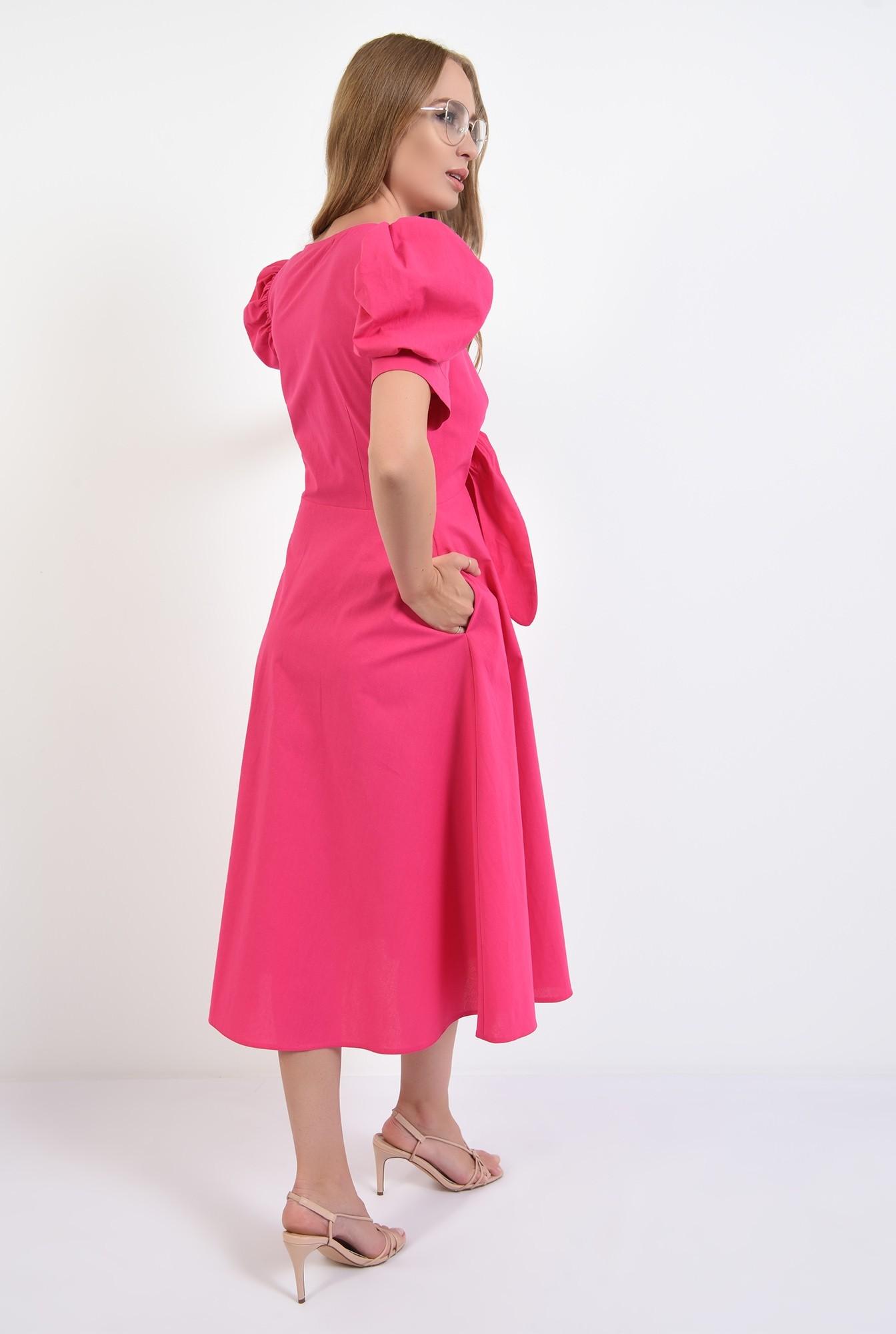 1 - 360 - rochie casual, din poplin, cu nod, decolteu, funda