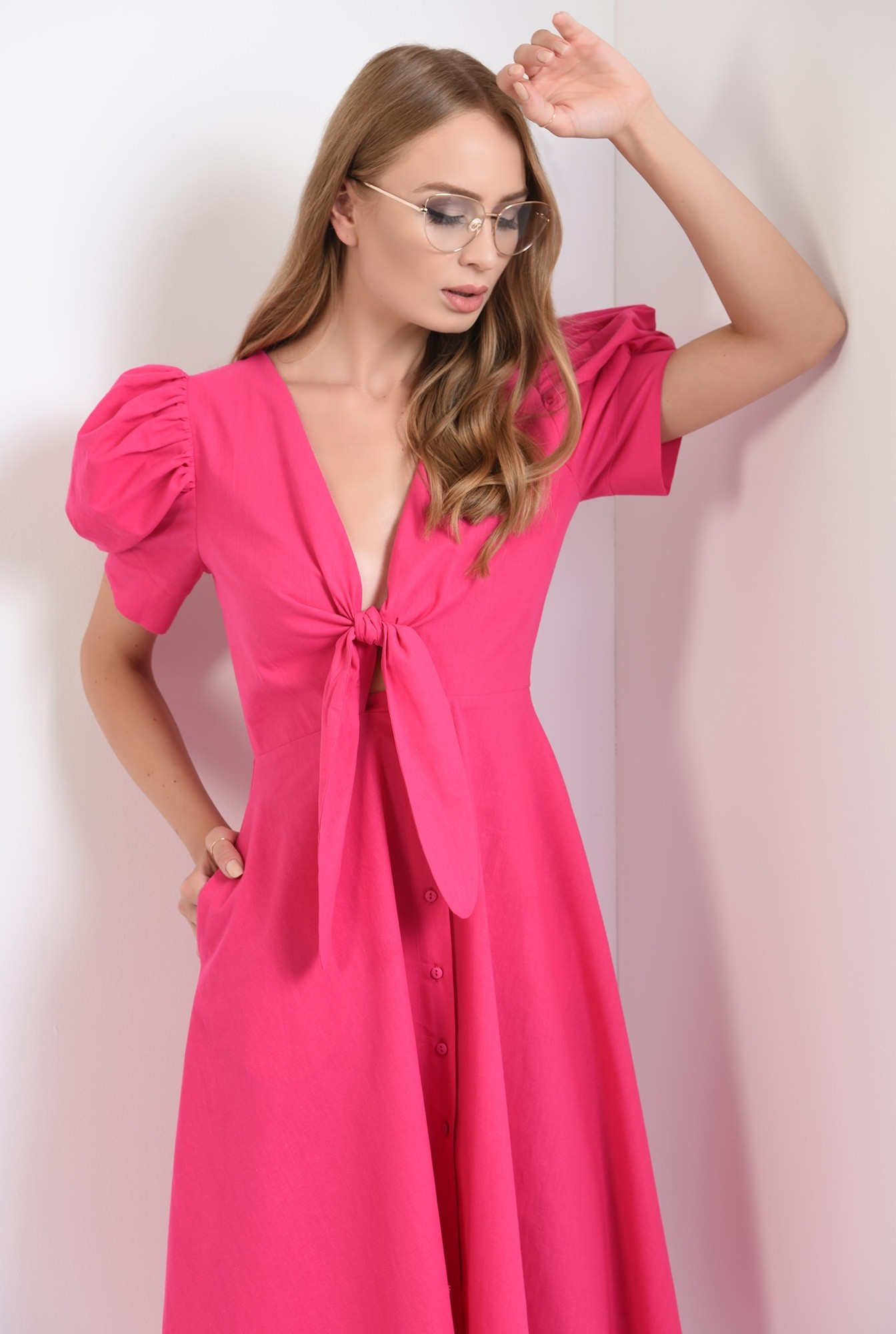 0 - 360 - rochie casual, din poplin, cu nod, decolteu, funda