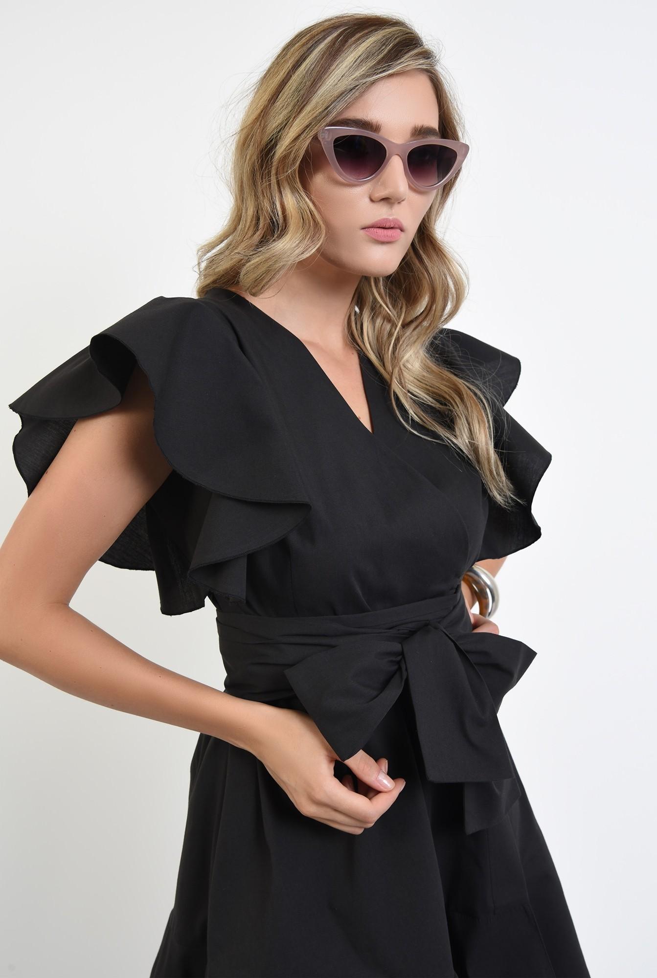 2 - 360 - rochie mini, clos, cu volan, anchior, maneci fluture, neagra