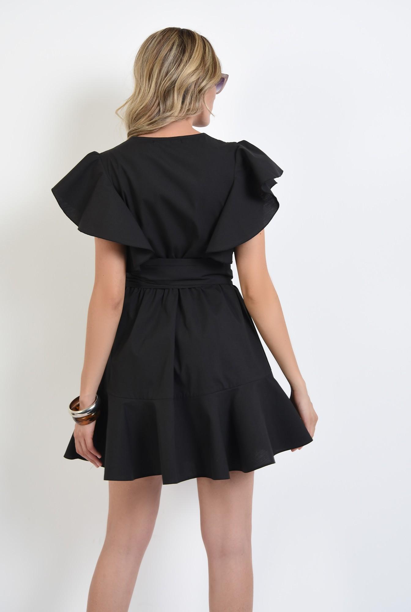 1 - 360 - rochie mini, clos, cu volan, anchior, maneci fluture, neagra