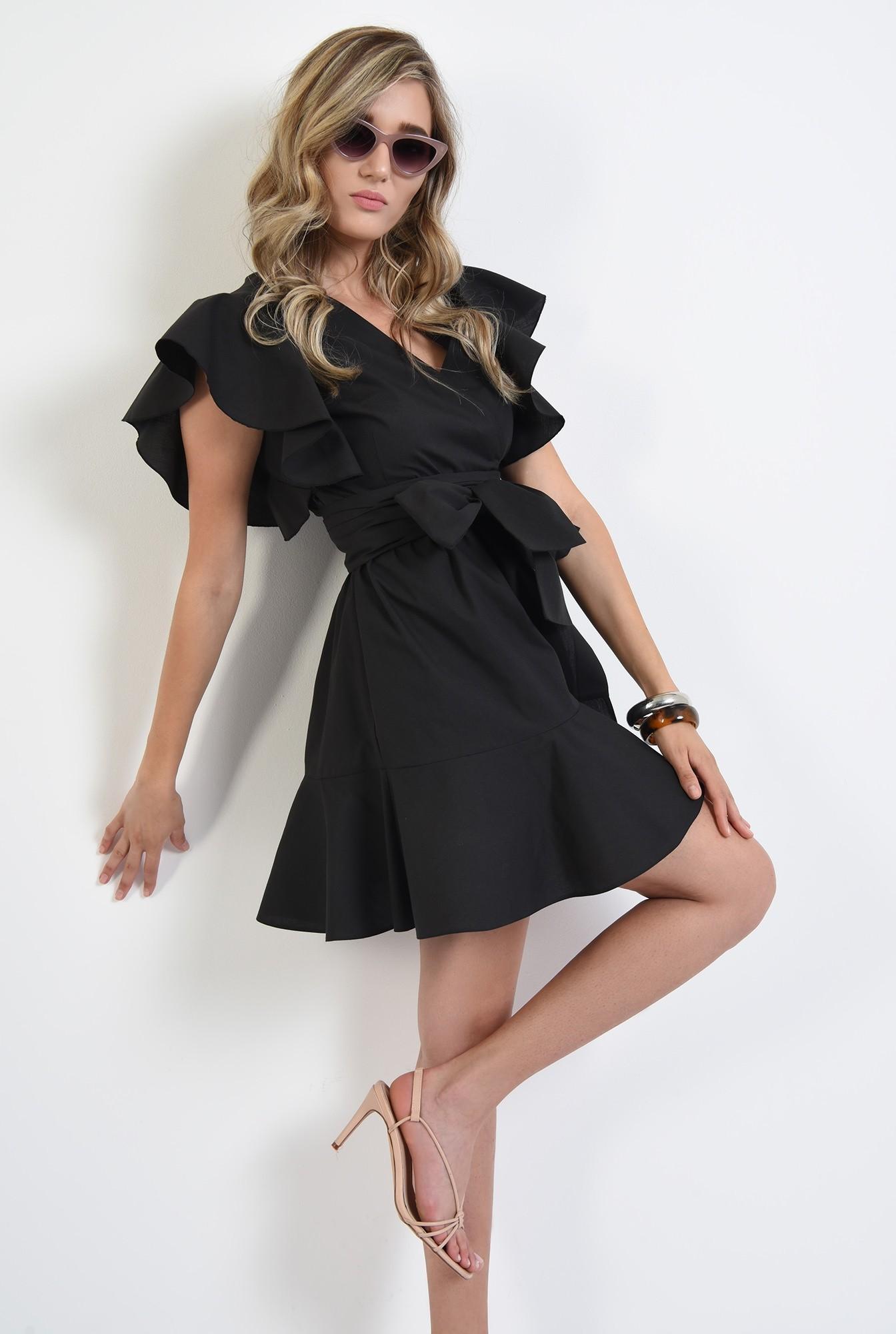 0 - 360 - rochie mini, clos, cu volan, anchior, maneci fluture, neagra