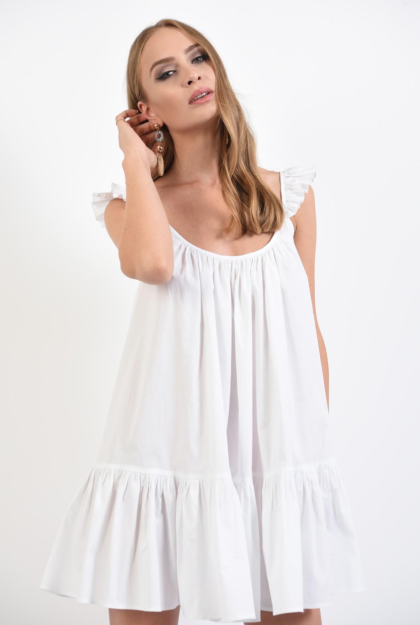 2 - 360 - rochie de vara, alba, cu volan, cu bretele, mini, Poema