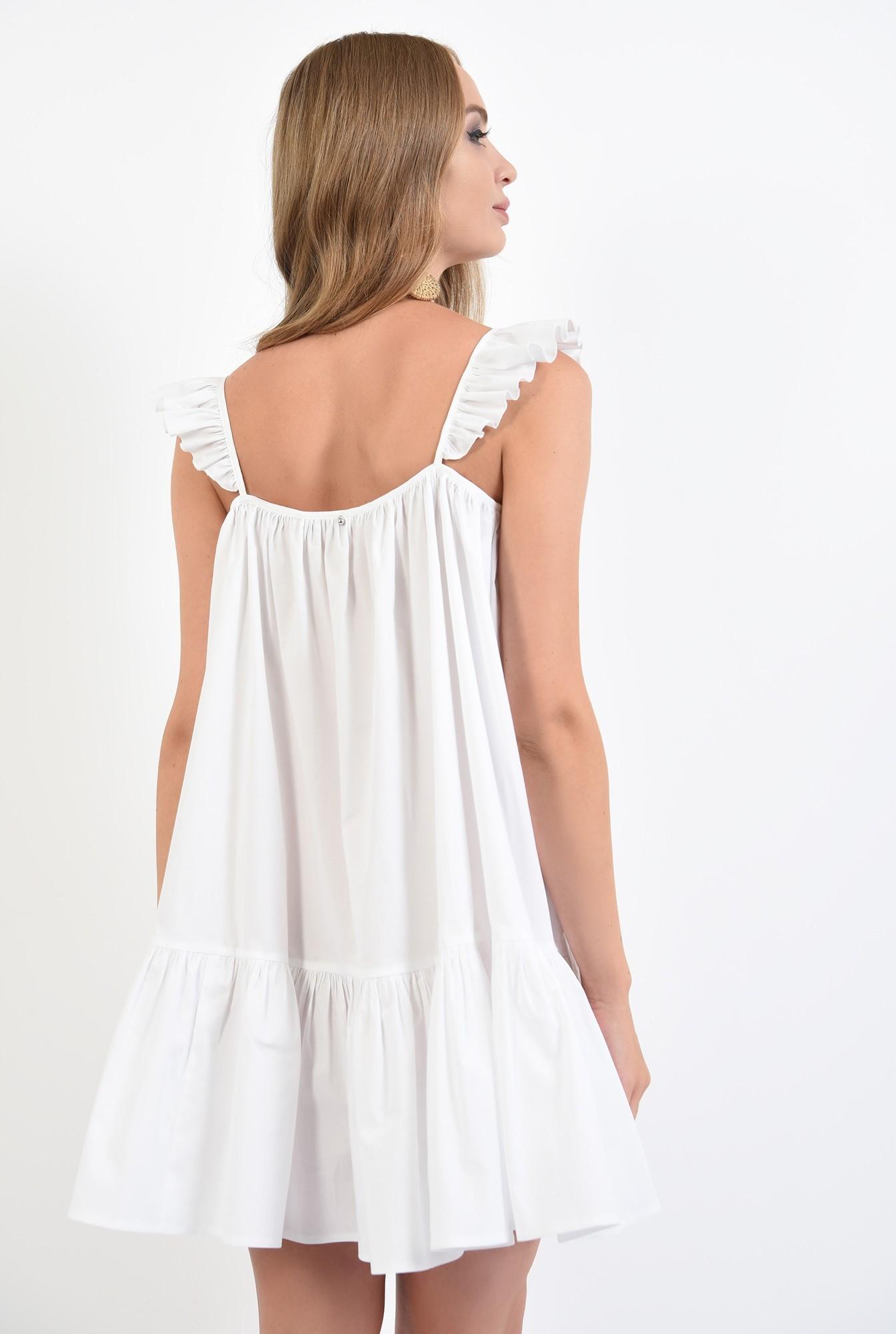1 - 360 - rochie de vara, alba, cu volan, cu bretele, mini, Poema