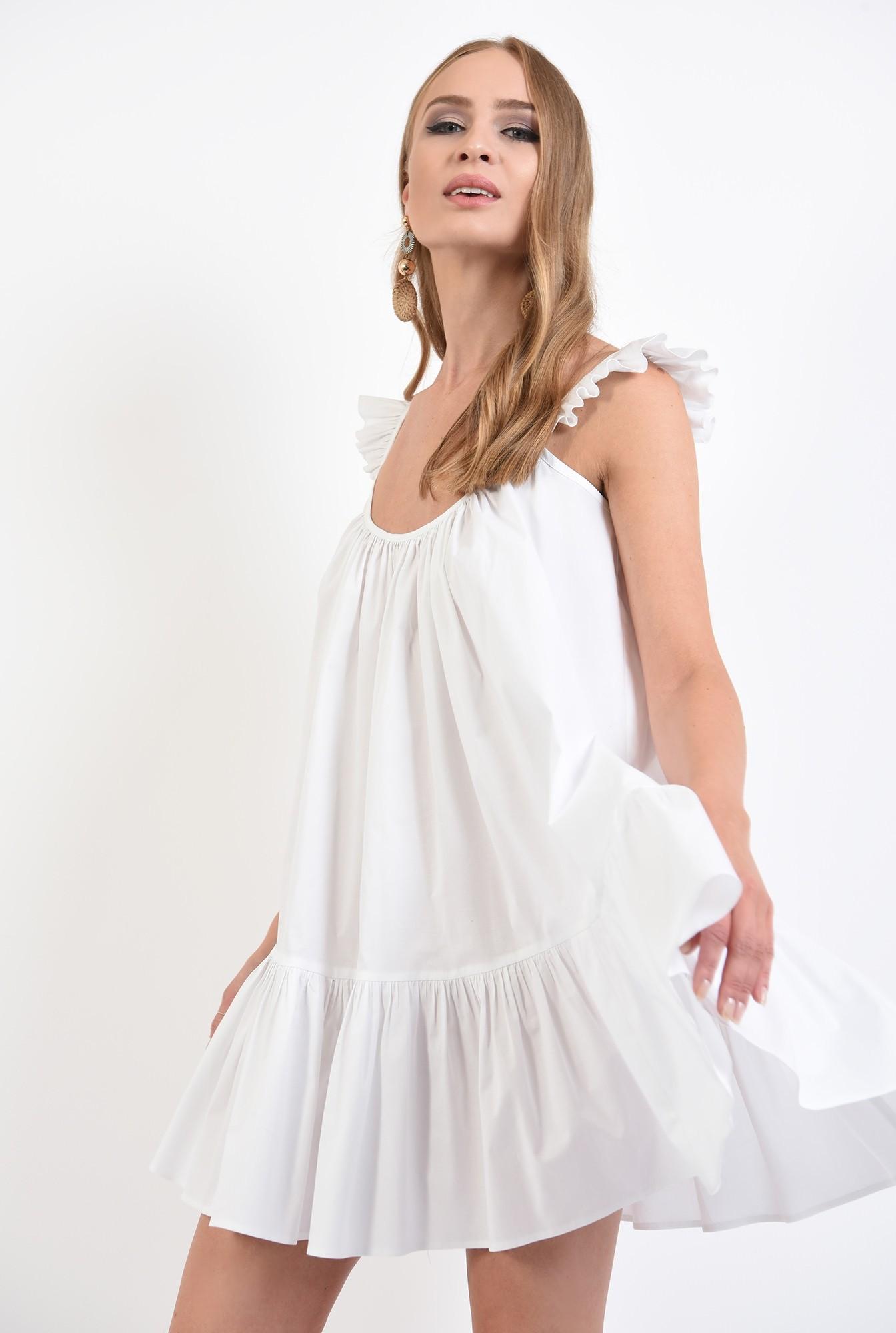 0 - 360 - rochie de vara, alba, cu volan, cu bretele, mini, Poema