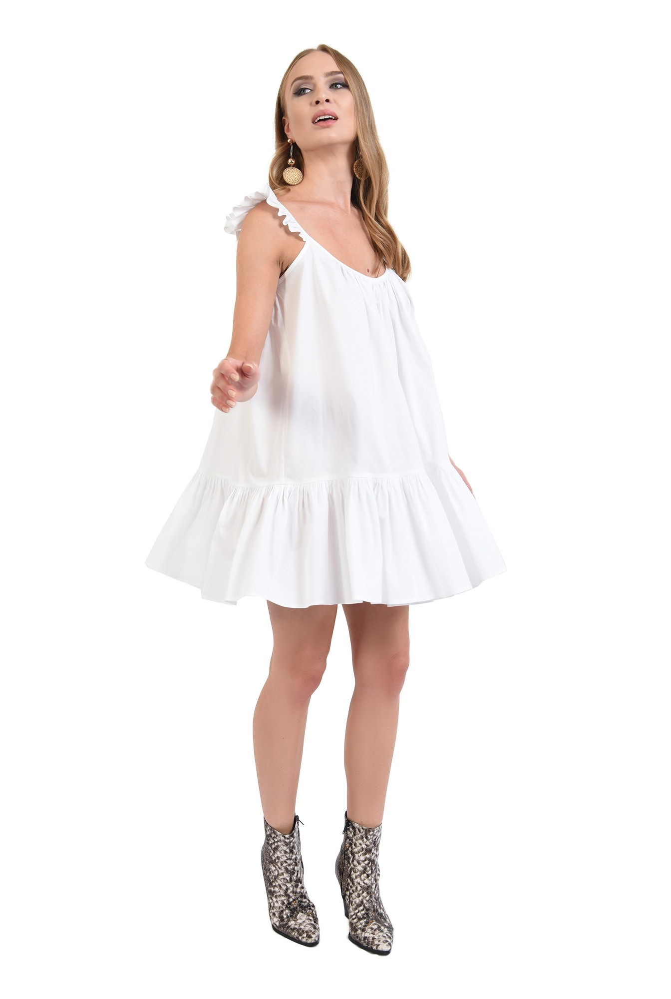 3 - 360 - rochie de vara, alba, cu volan, cu bretele, mini, Poema