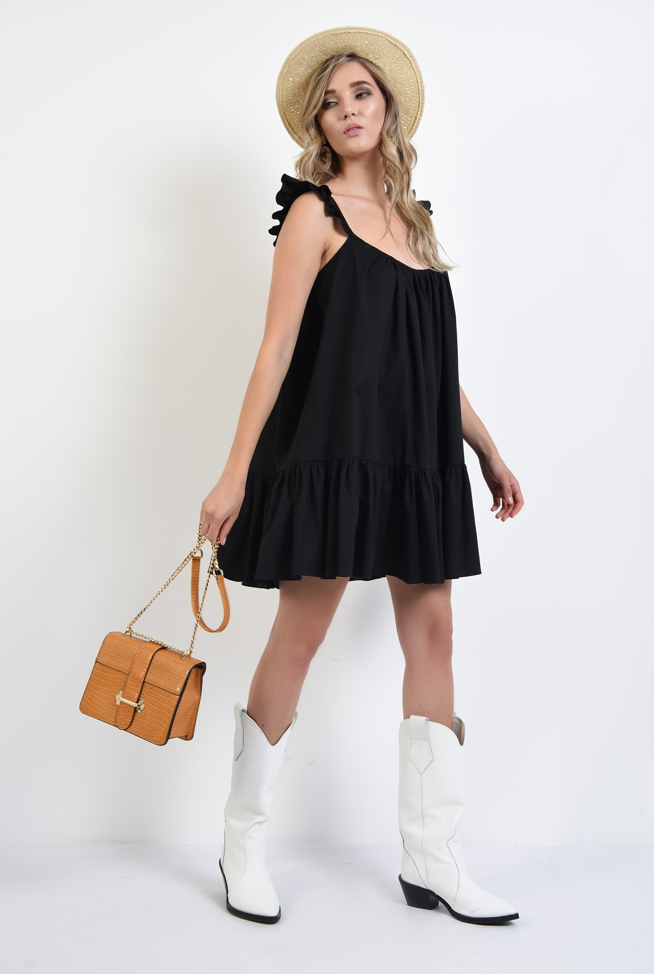3 - rochie neagra, mini, evazata, cu volan la baza, cu bretele, bumbac
