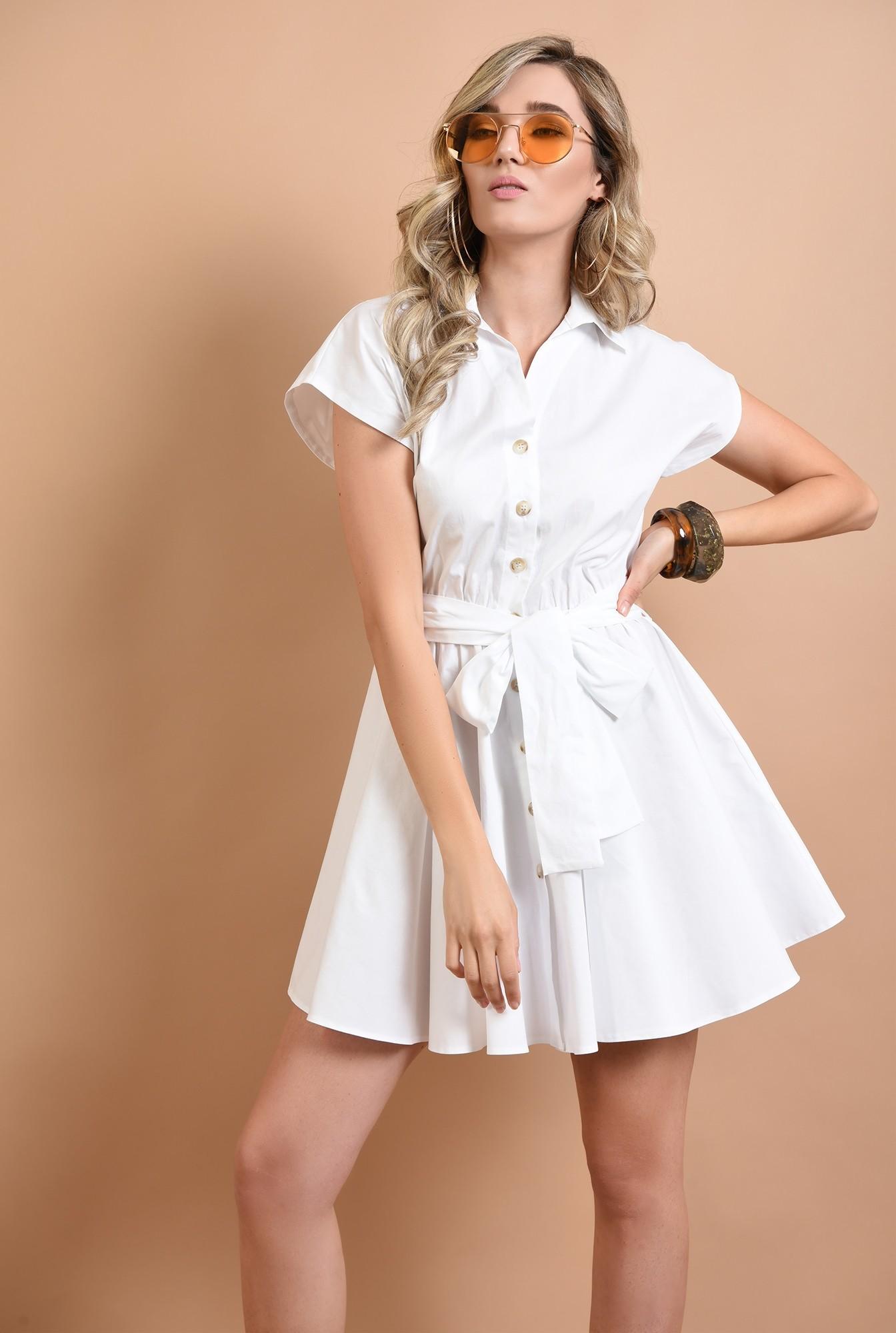 0 - 360 - rochie mini, evazata, fara maneci, cu cordon, alba