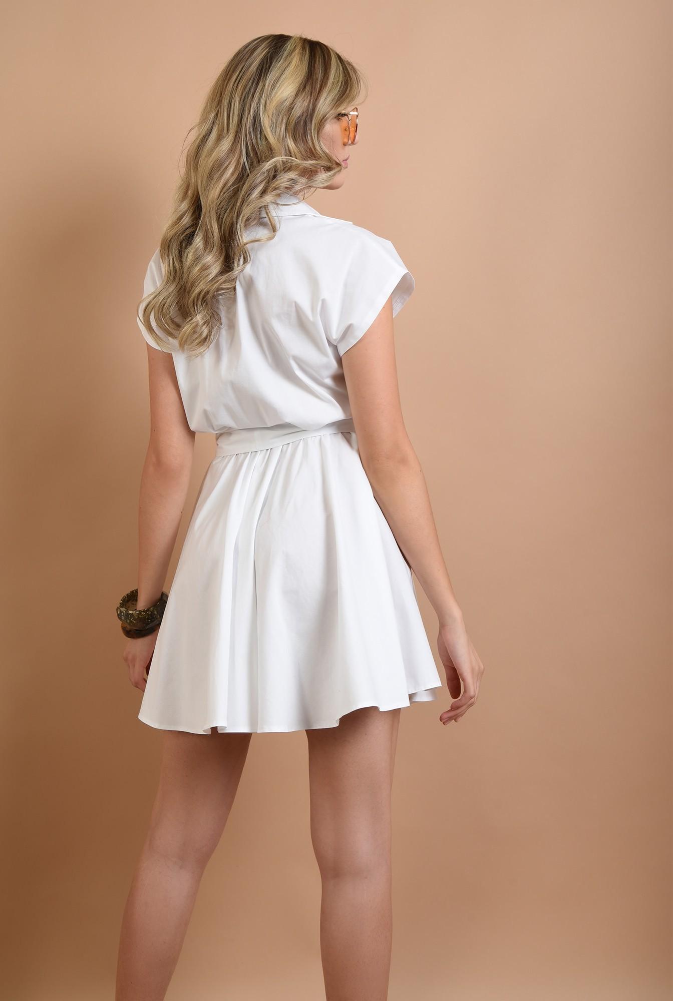 1 - 360 - rochie mini, evazata, fara maneci, cu cordon, alba