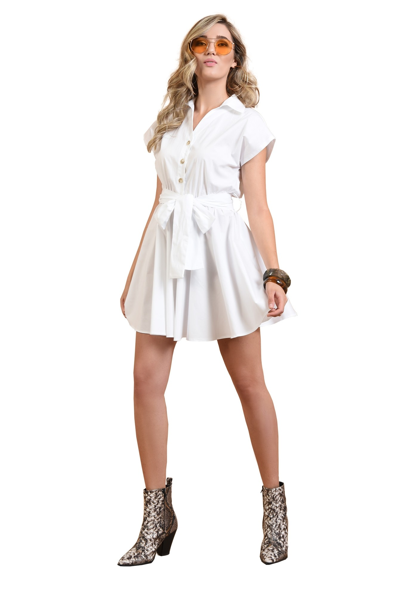 3 - 360 - rochie mini, evazata, fara maneci, cu cordon, alba