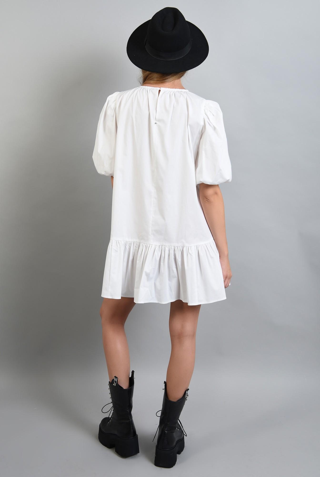 1 - 360 - rochie scurta alba, cu volan, maneci bufante, Poema