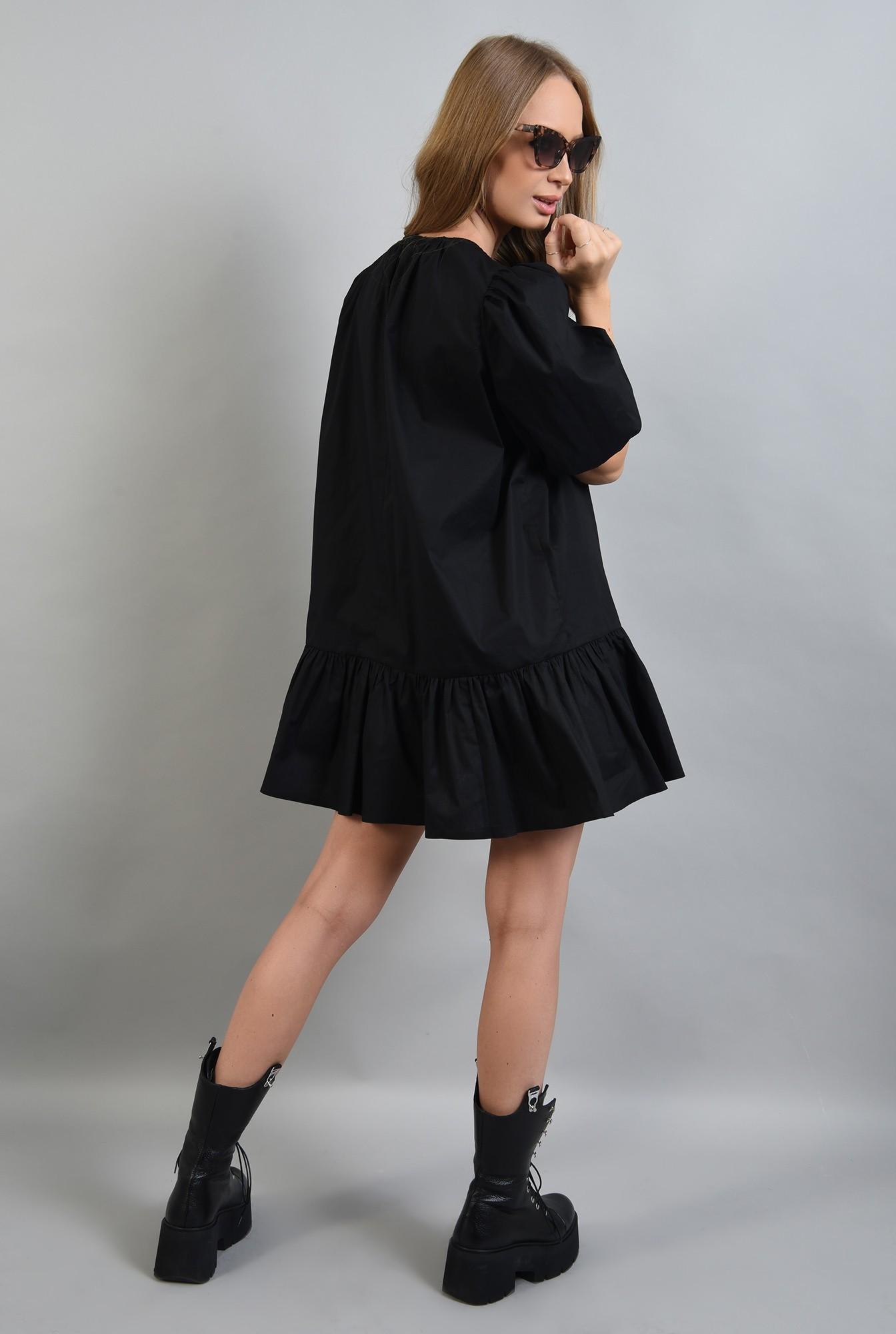 1 - 360 - rochie neagra, cu maneci bufante si volan, Poema
