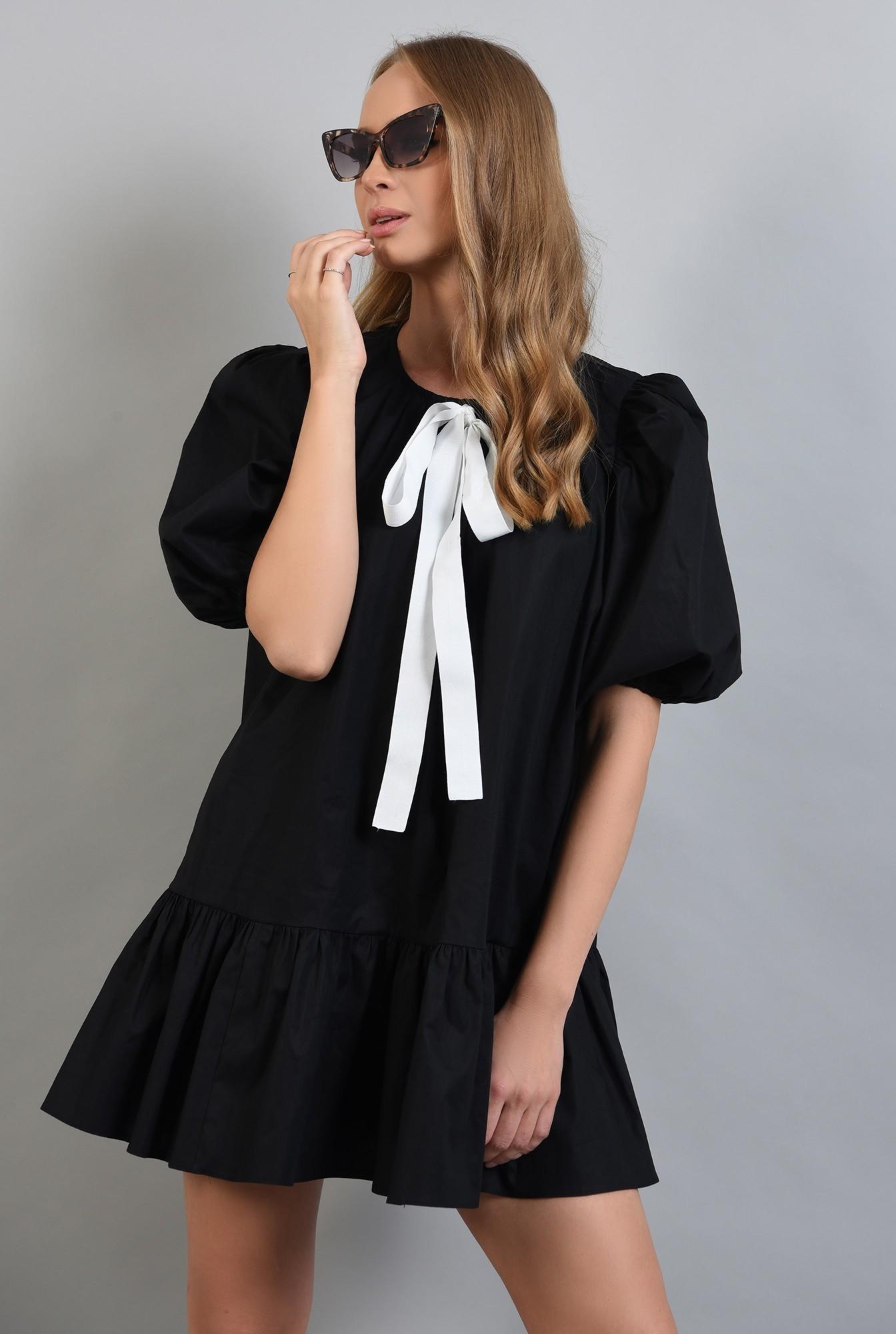 0 - 360 - rochie neagra, cu maneci bufante si volan, Poema