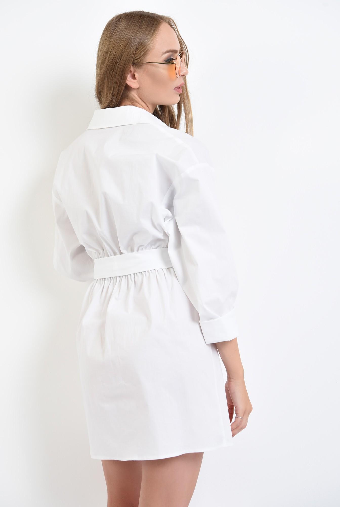 1 - 360 - rochie camasa, mini, cu cordon, nasturi ascunsi, Poema, alb