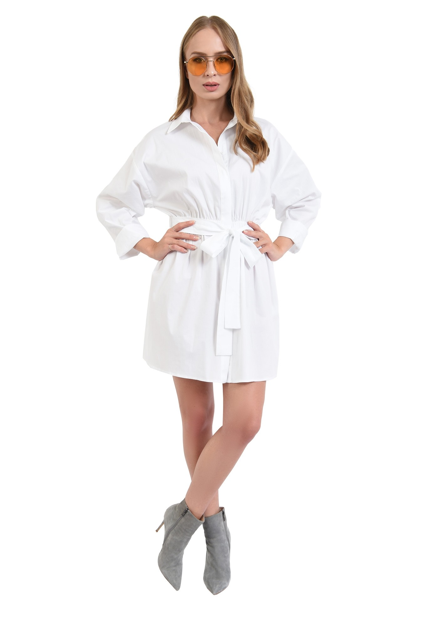 3 - 360 - rochie camasa, mini, cu cordon, nasturi ascunsi, Poema, alb
