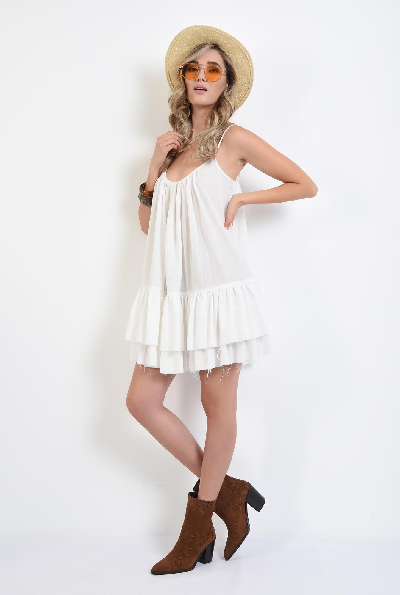 3 - rochie mini, din bumbac, cu volane, bretele subtiri, Poema