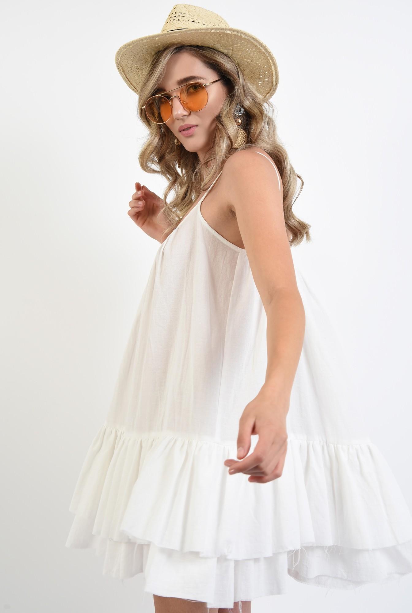 2 - rochie mini, din bumbac, cu volane, bretele subtiri, Poema