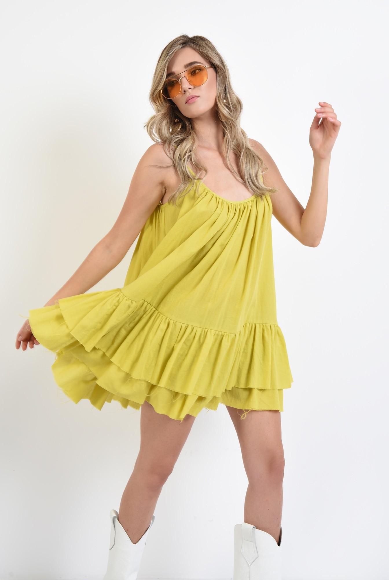 0 - 360 - rochie din bumbac, lime, bretele, volane, rochie evazata