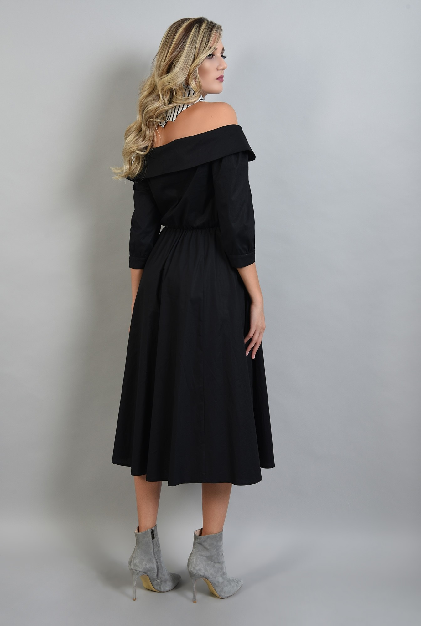 1 - 360 - rochie neagra midi, evazata, Poema