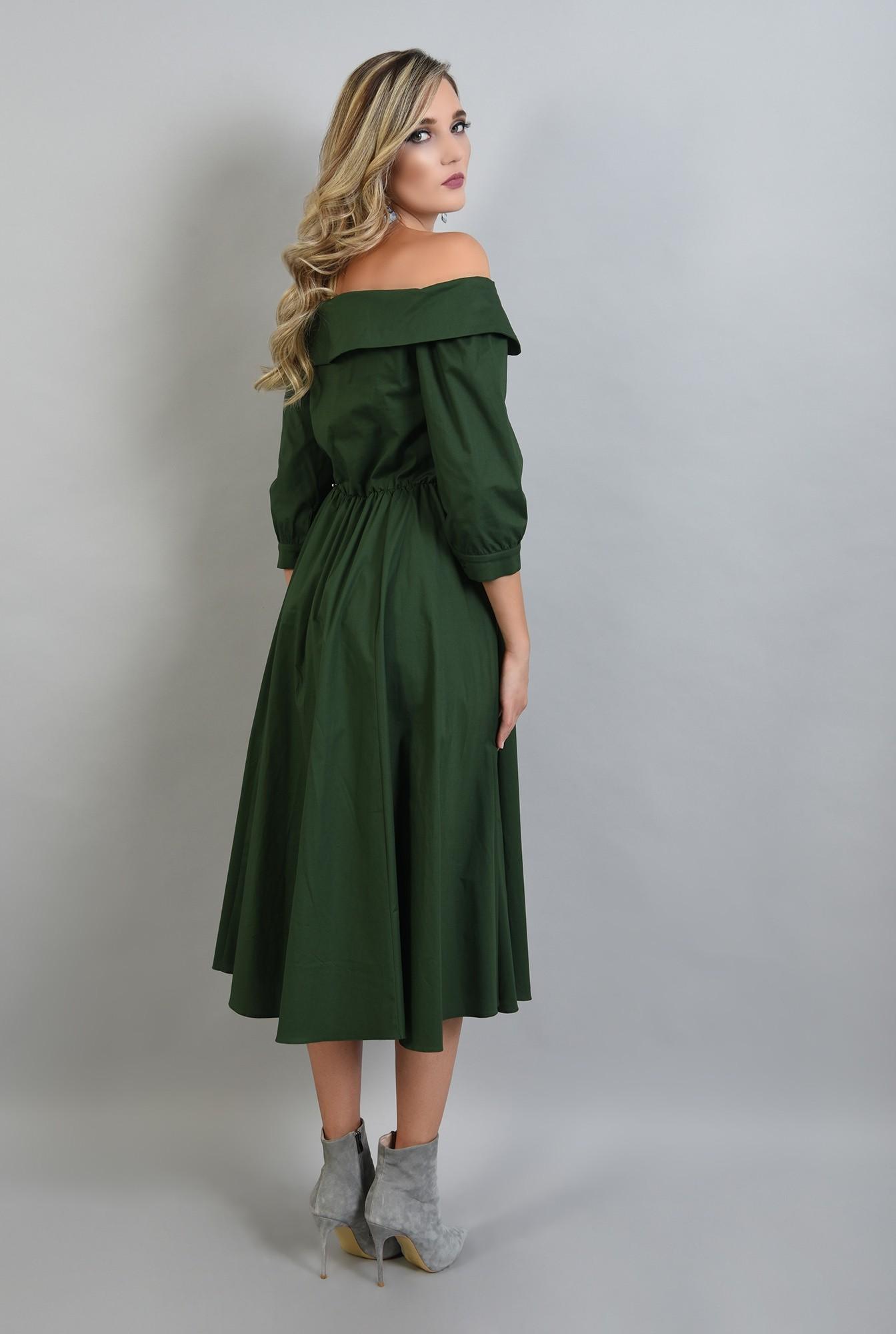 1 - 360 - rochie verde midi, evazata, Poema