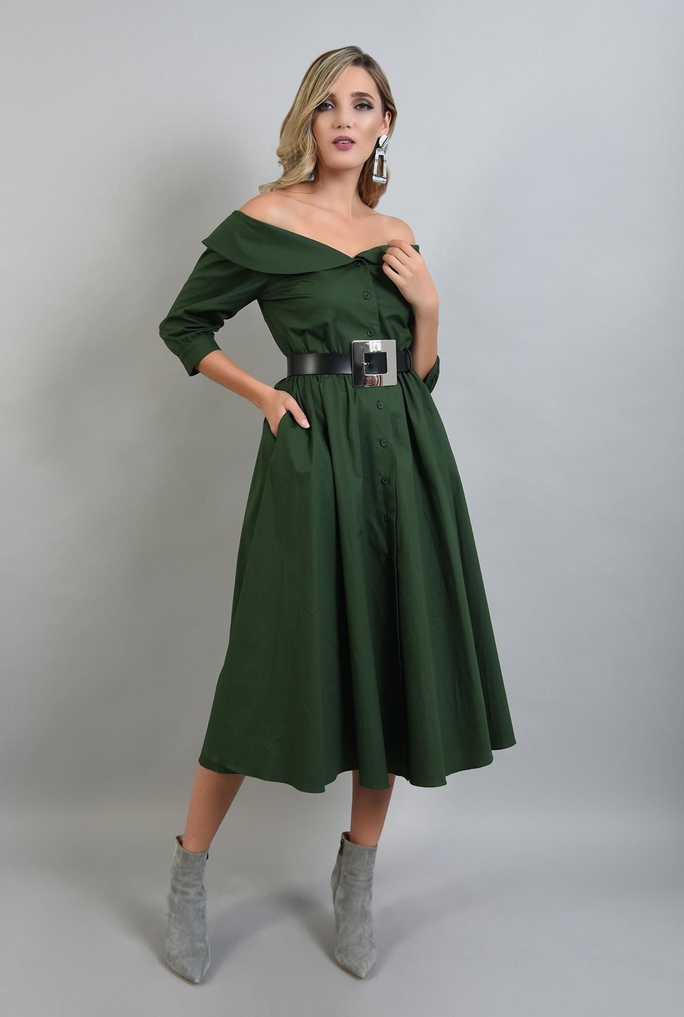 2 - 360 - rochie verde midi, evazata, Poema