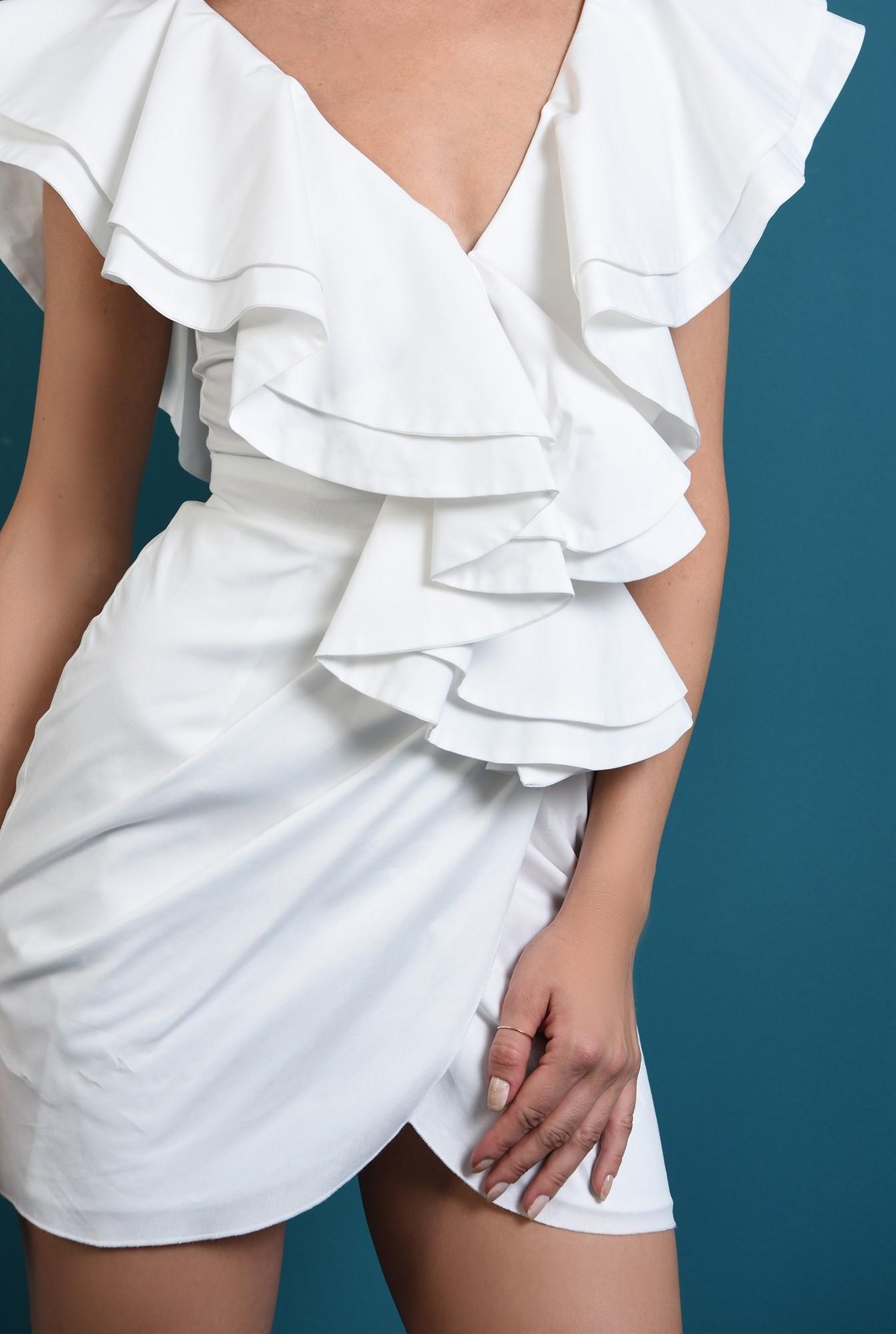 2 - 360 - rochie scurta alba, cu volane, Poema