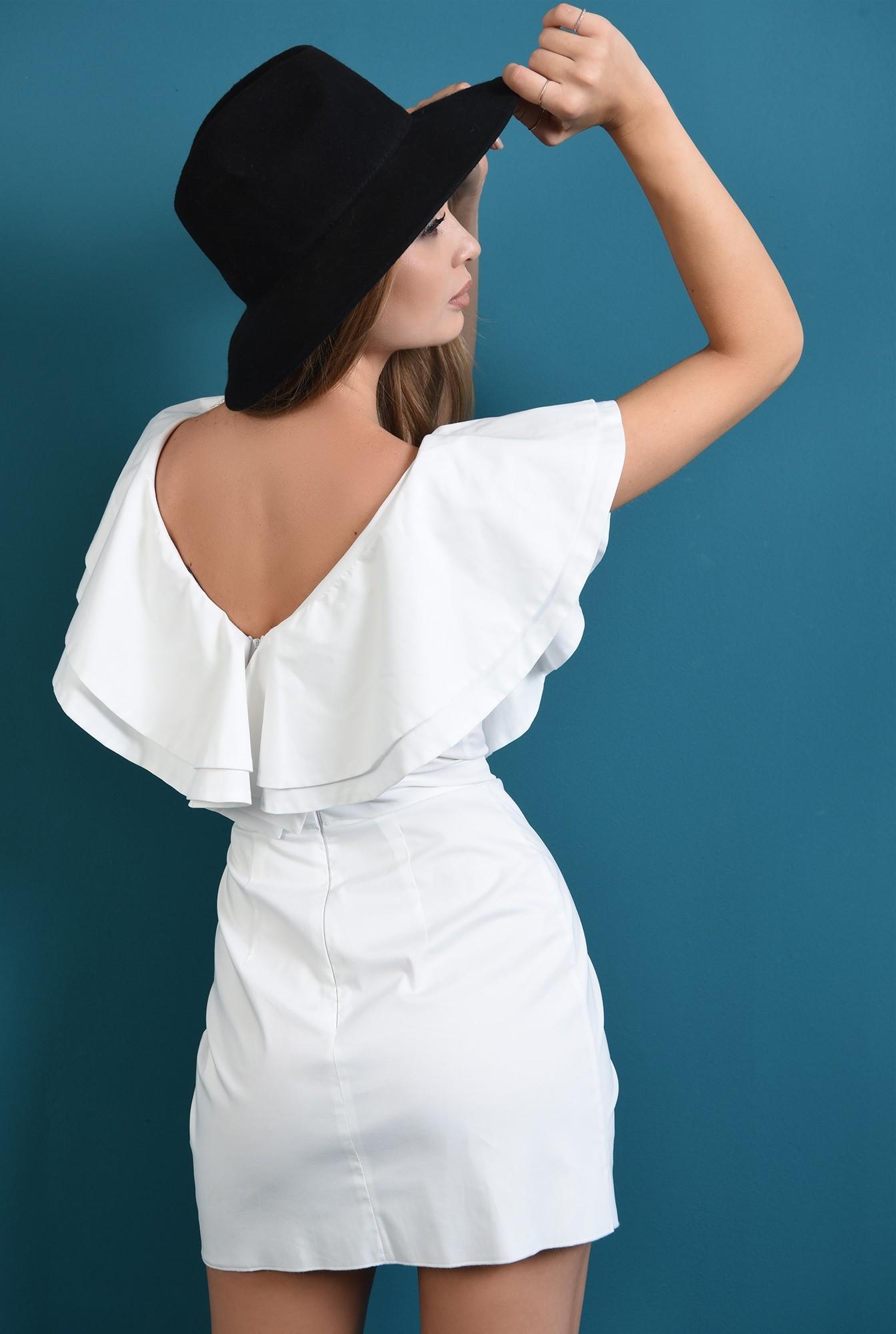 1 - 360 - rochie scurta alba, cu volane, Poema