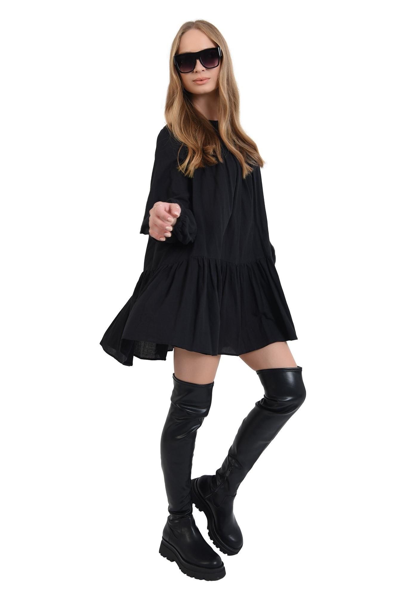 3 - 360 - rochie neagra scurta,cu maneca lunga Poema