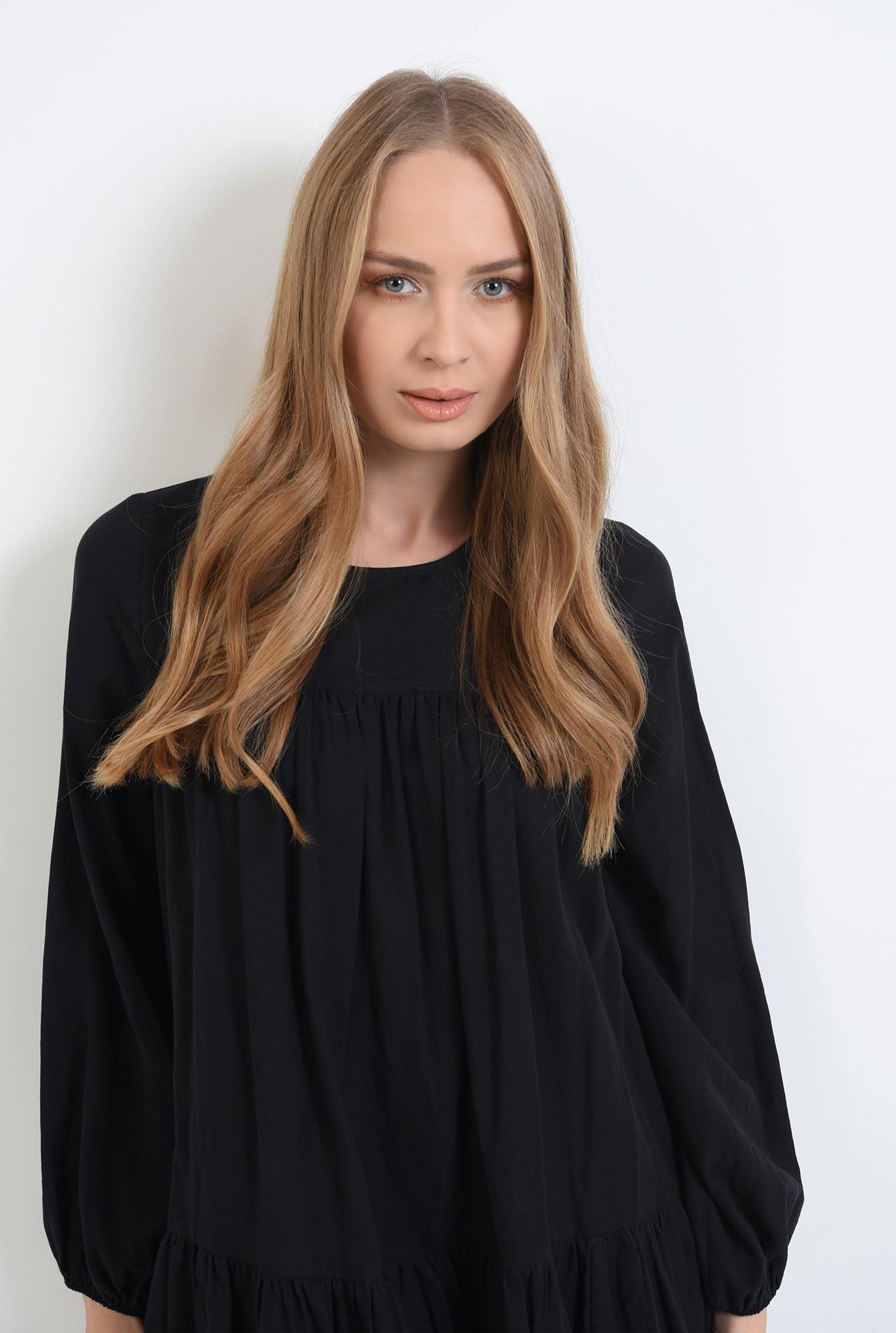2 - 360 - rochie neagra scurta,cu maneca lunga Poema