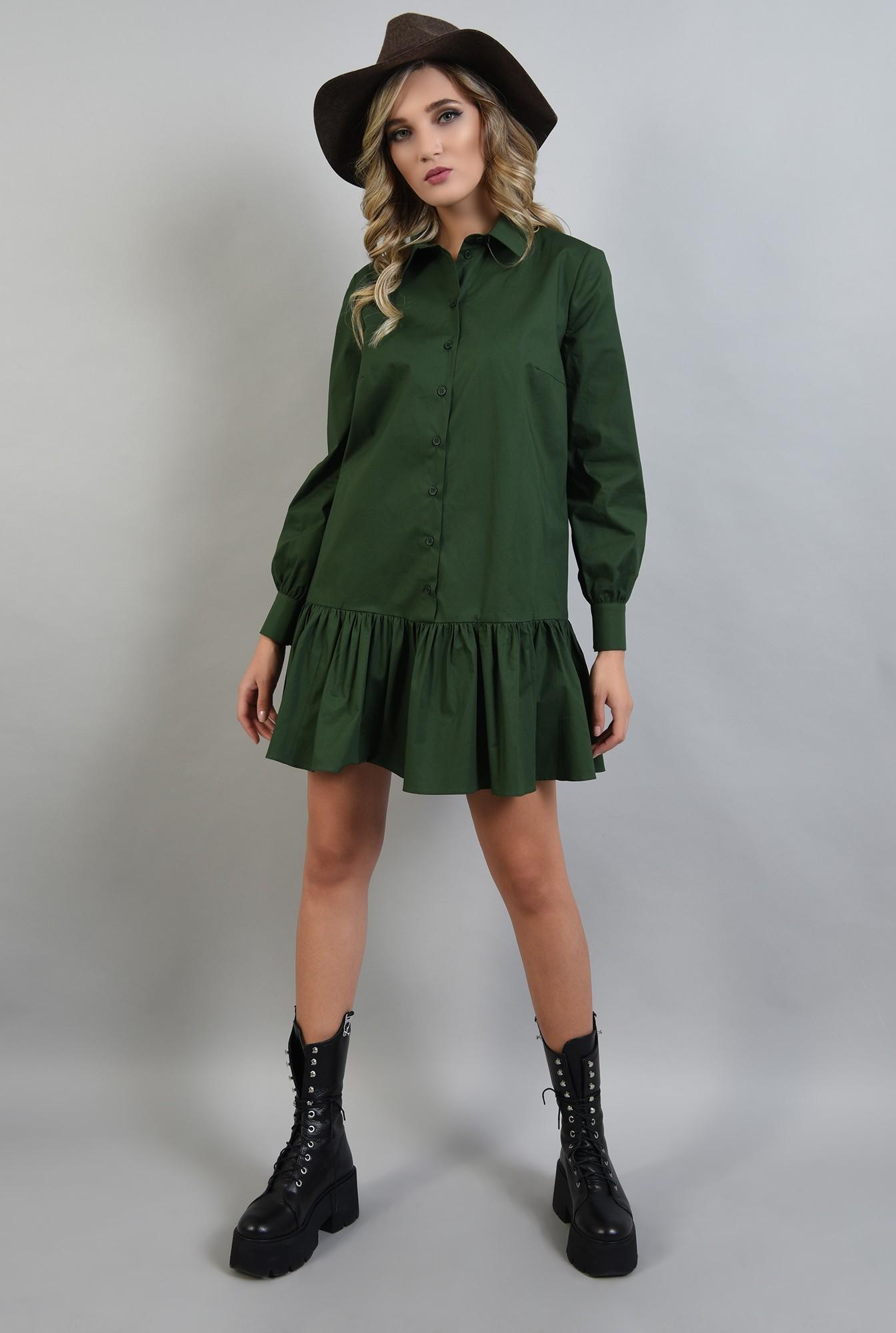 0 - rochie poplin verde, cu volan, guler, Poema