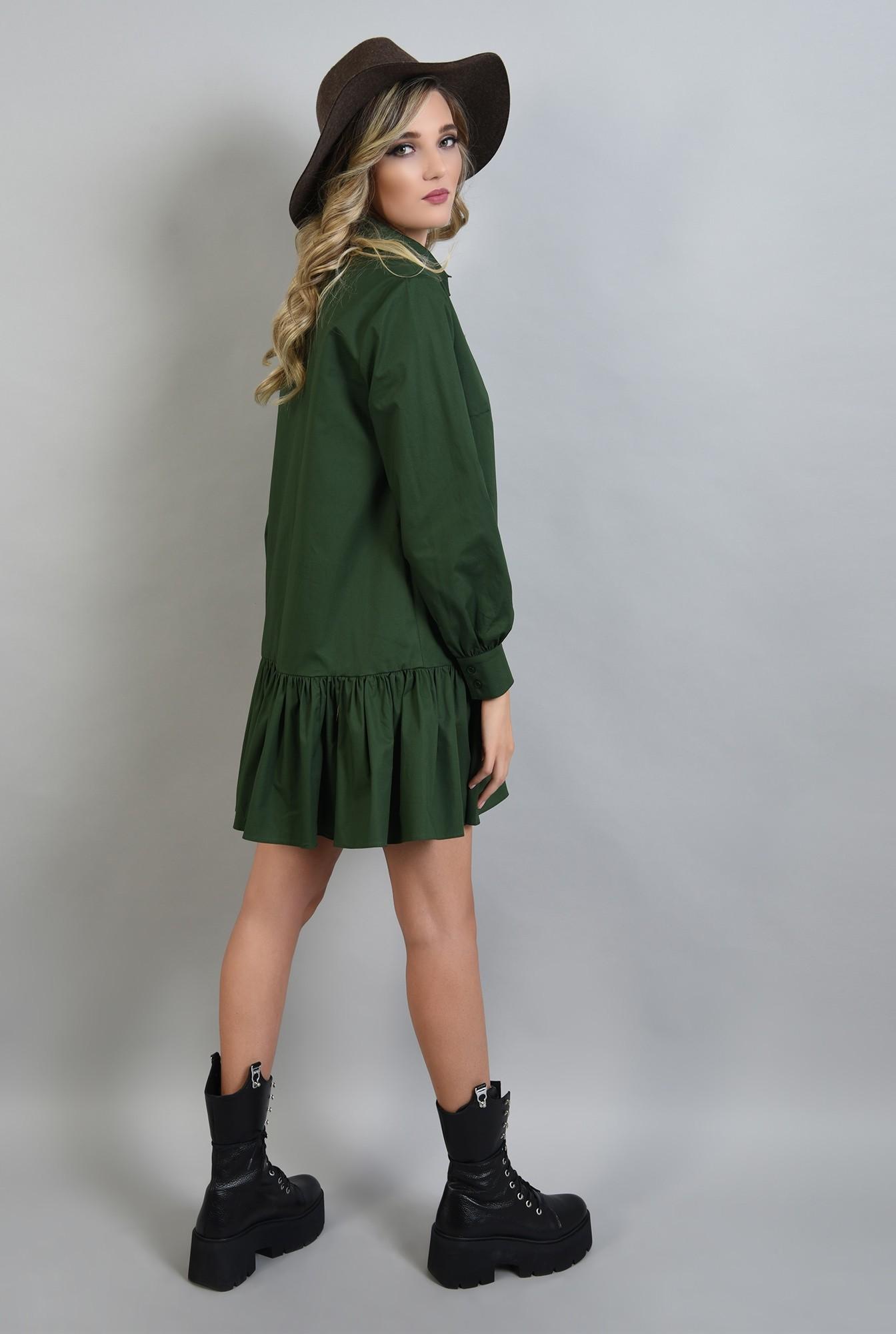1 - rochie poplin verde, cu volan, guler, Poema