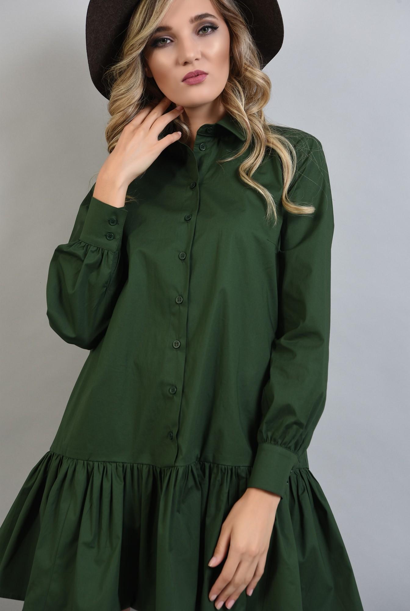 2 - rochie poplin verde, cu volan, guler, Poema