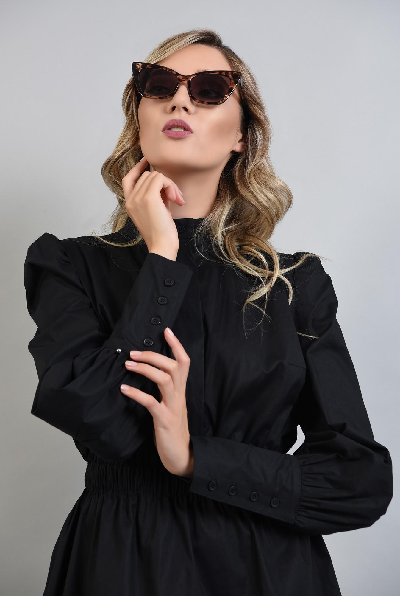 3 - rochie tunica, neagra, Poema, maneci lungi, bufante