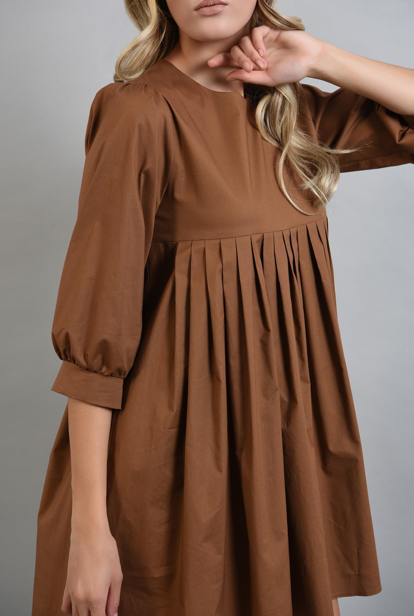 2 - rochie maro, din bumbac, cu pliuri, Poema