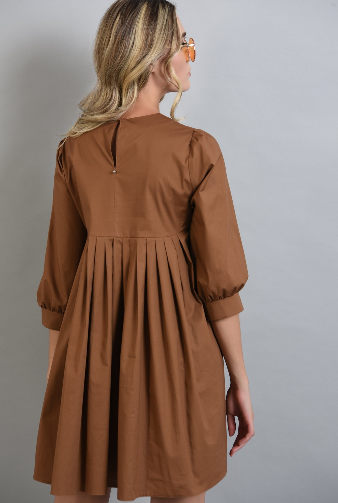 1 - rochie maro, din bumbac, cu pliuri, Poema