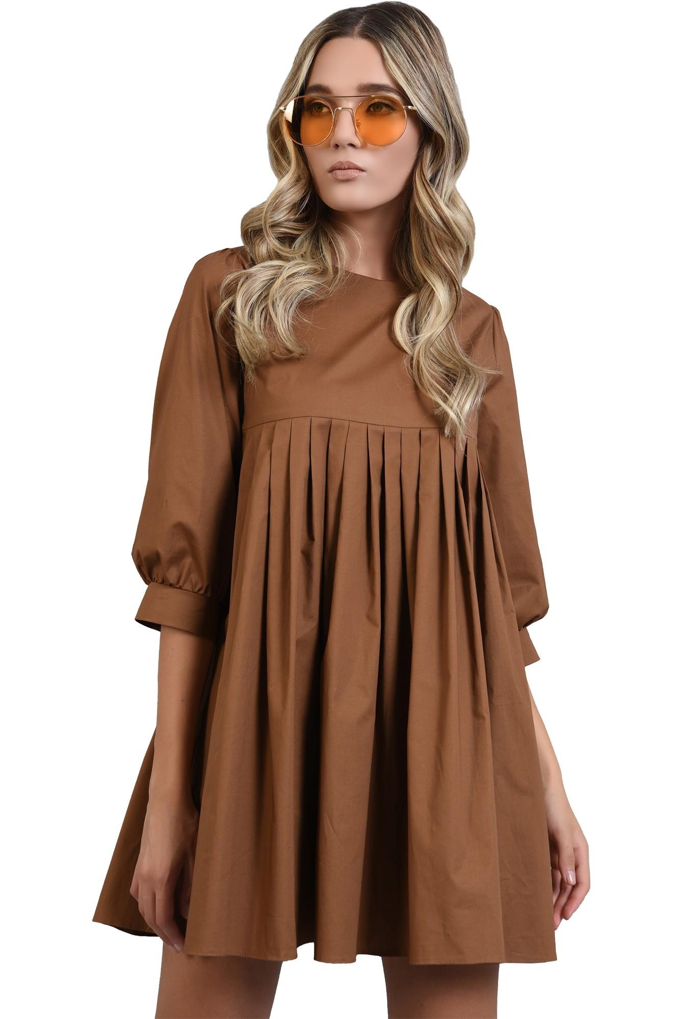 3 - rochie maro, din bumbac, cu pliuri, Poema
