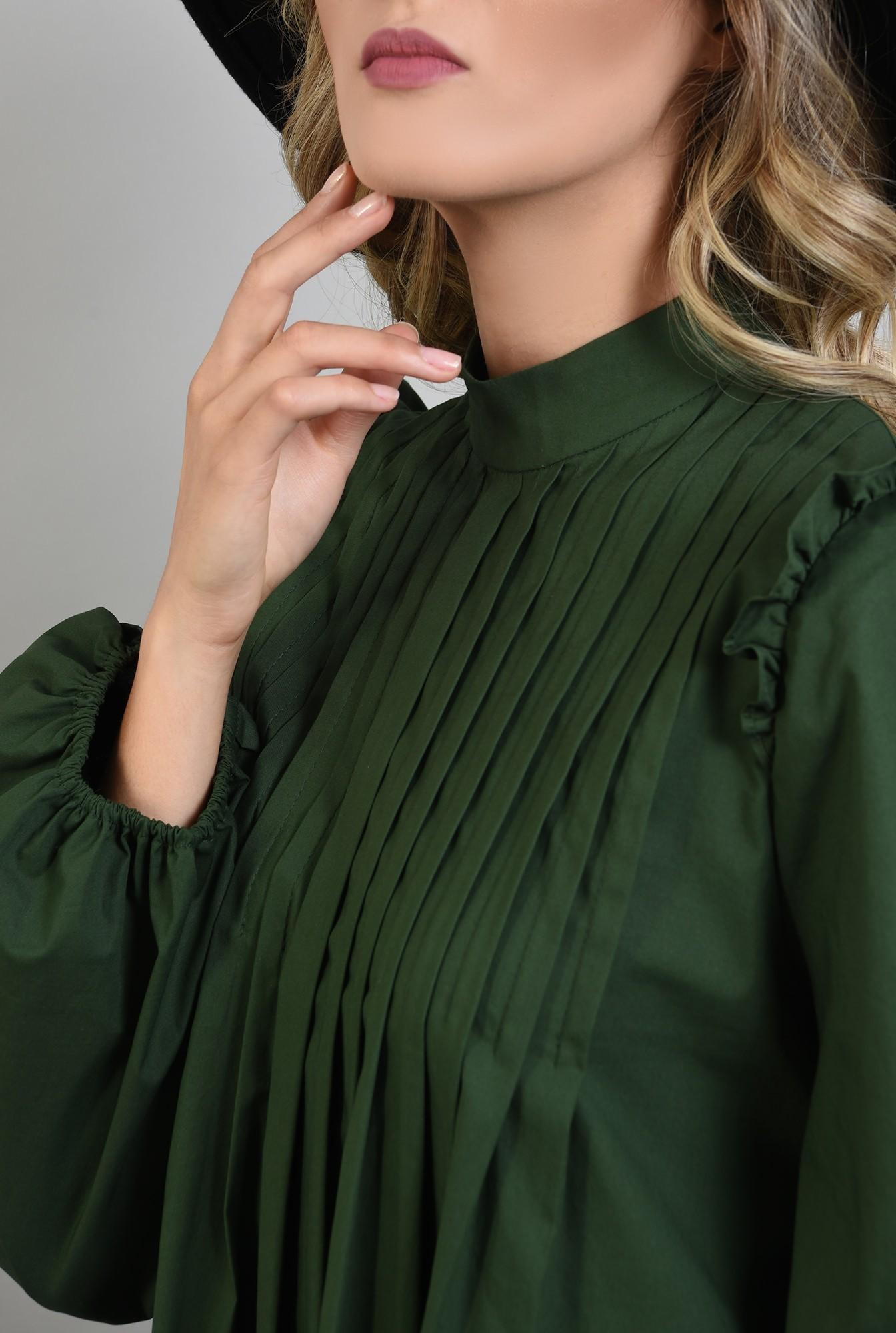 2 - 360 - rochie verde, din bumbac, cu pliuri decorative, maneci bufante
