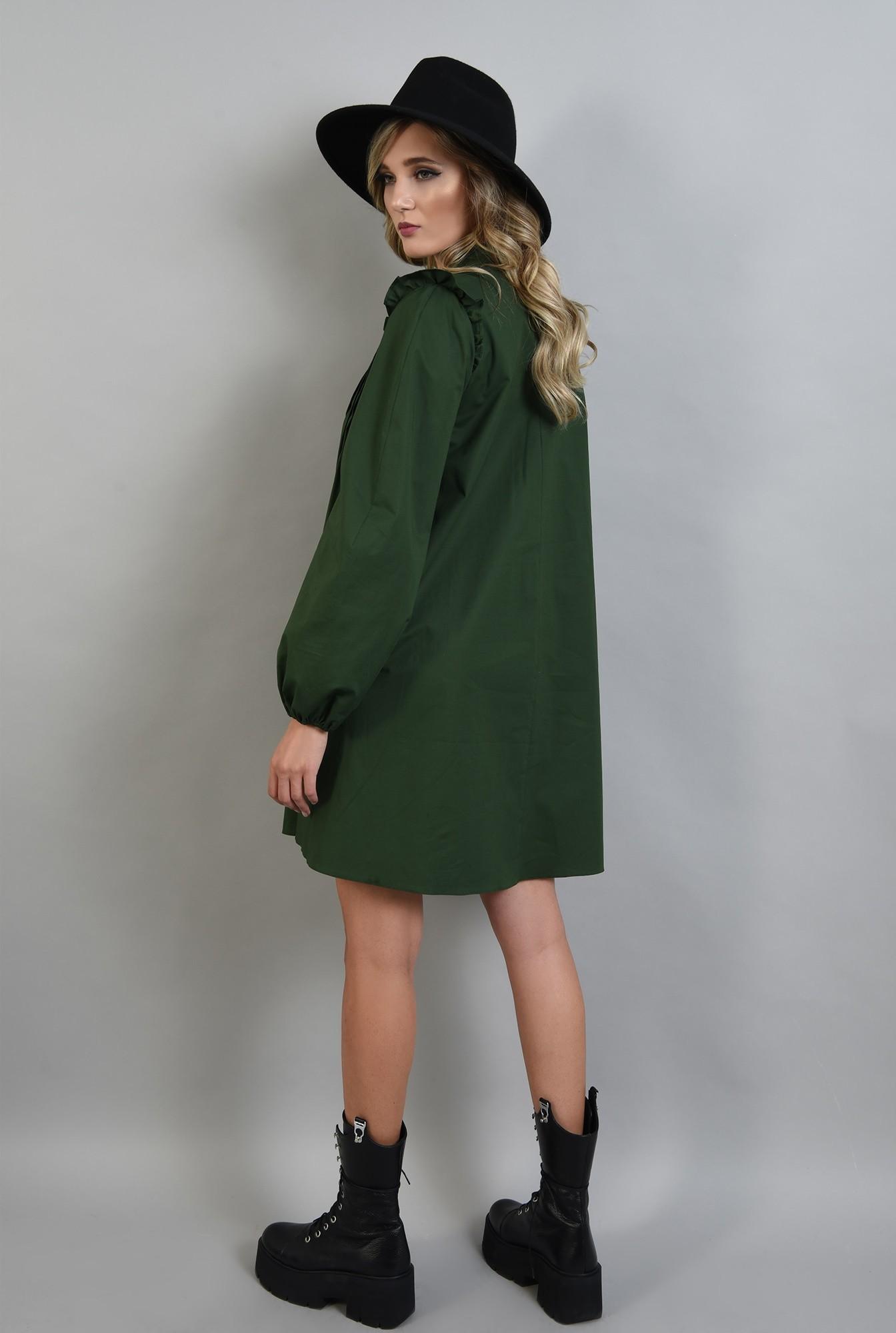 1 - 360 - rochie verde, din bumbac, cu pliuri decorative, maneci bufante