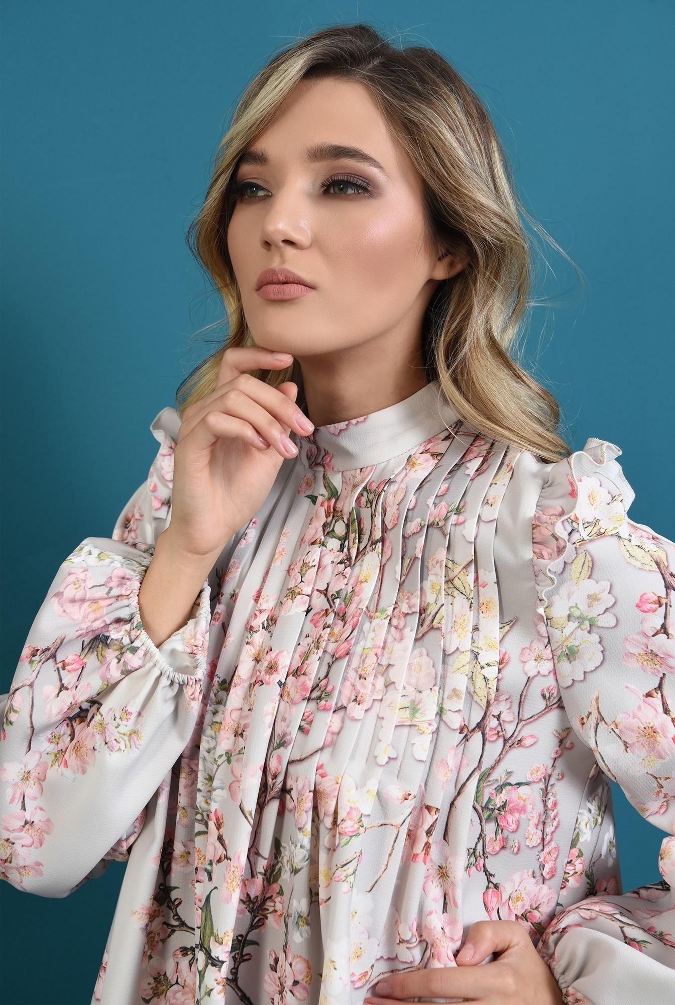 2 - rochie cu imprimeu, cu pliuri, maneci bufante, print floral